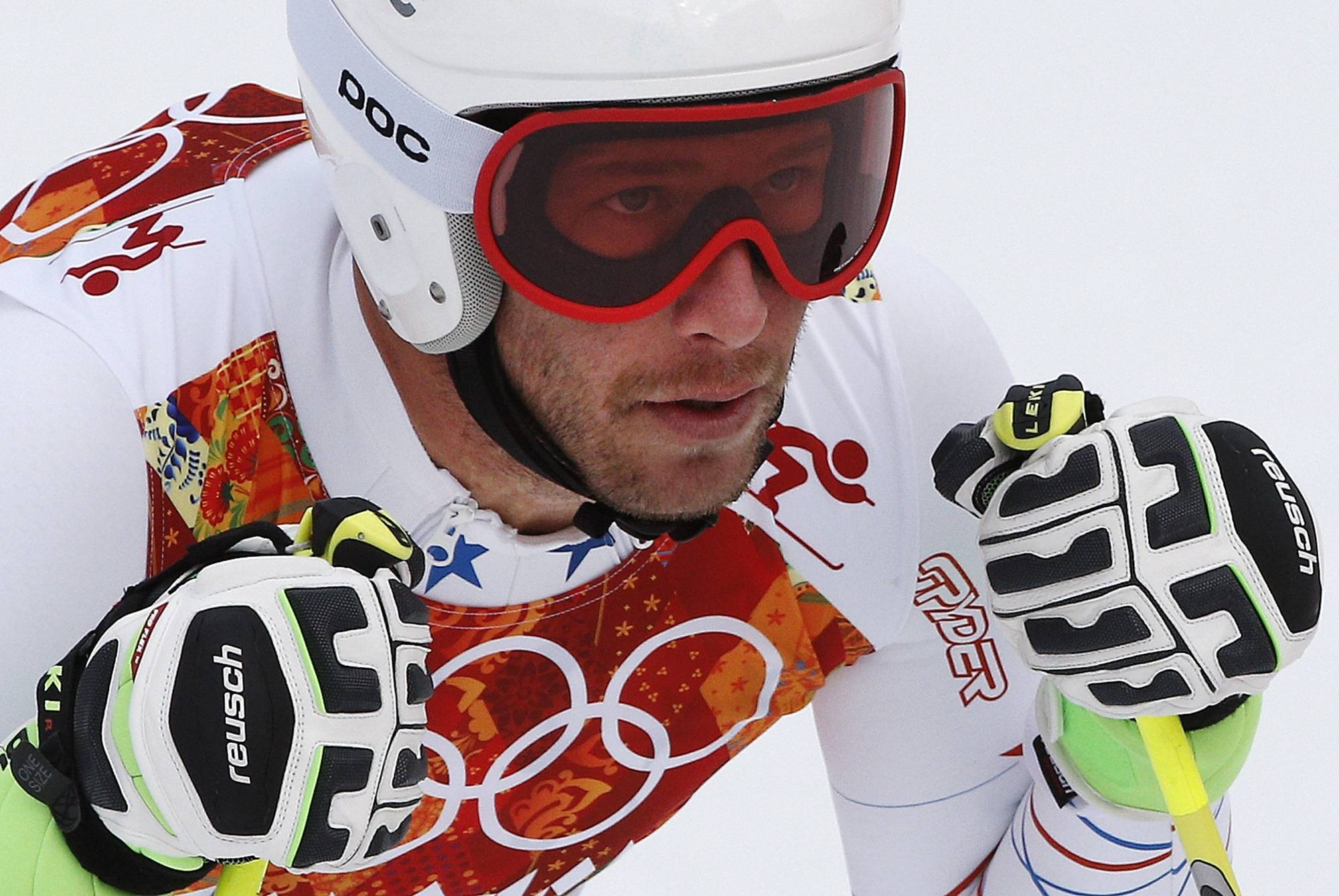 United States skier Bode Miller pauses Tuesday in the finish area after completing Men's super combined downhill training at the Sochi 2014 Winter Olympics in Krasnaya Polyana, Russia.