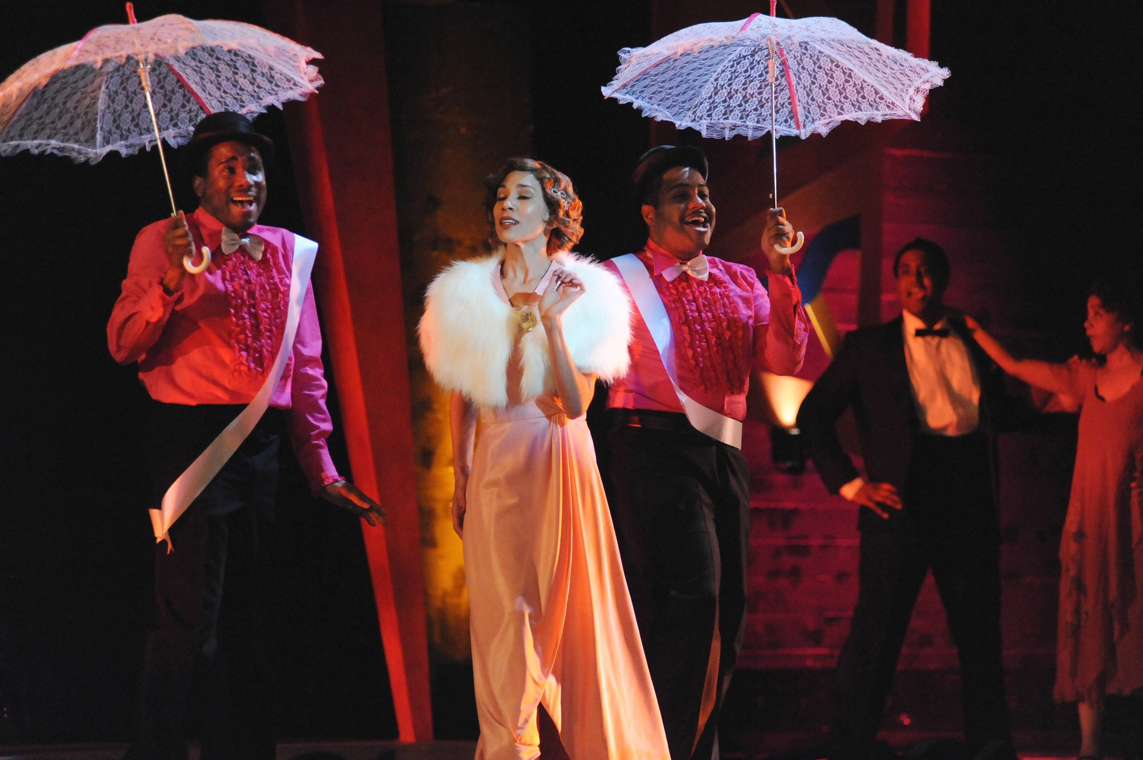 "Cafe Au Lait (Anna Bowen, center) upsets her rival in Duke Ellington's jazz-opera hybrid ""Queenie Pie,"" which has its Windy City debut courtesy of Chicago Opera Theater at Millennium Park's Harris Theater for Music and Dance."