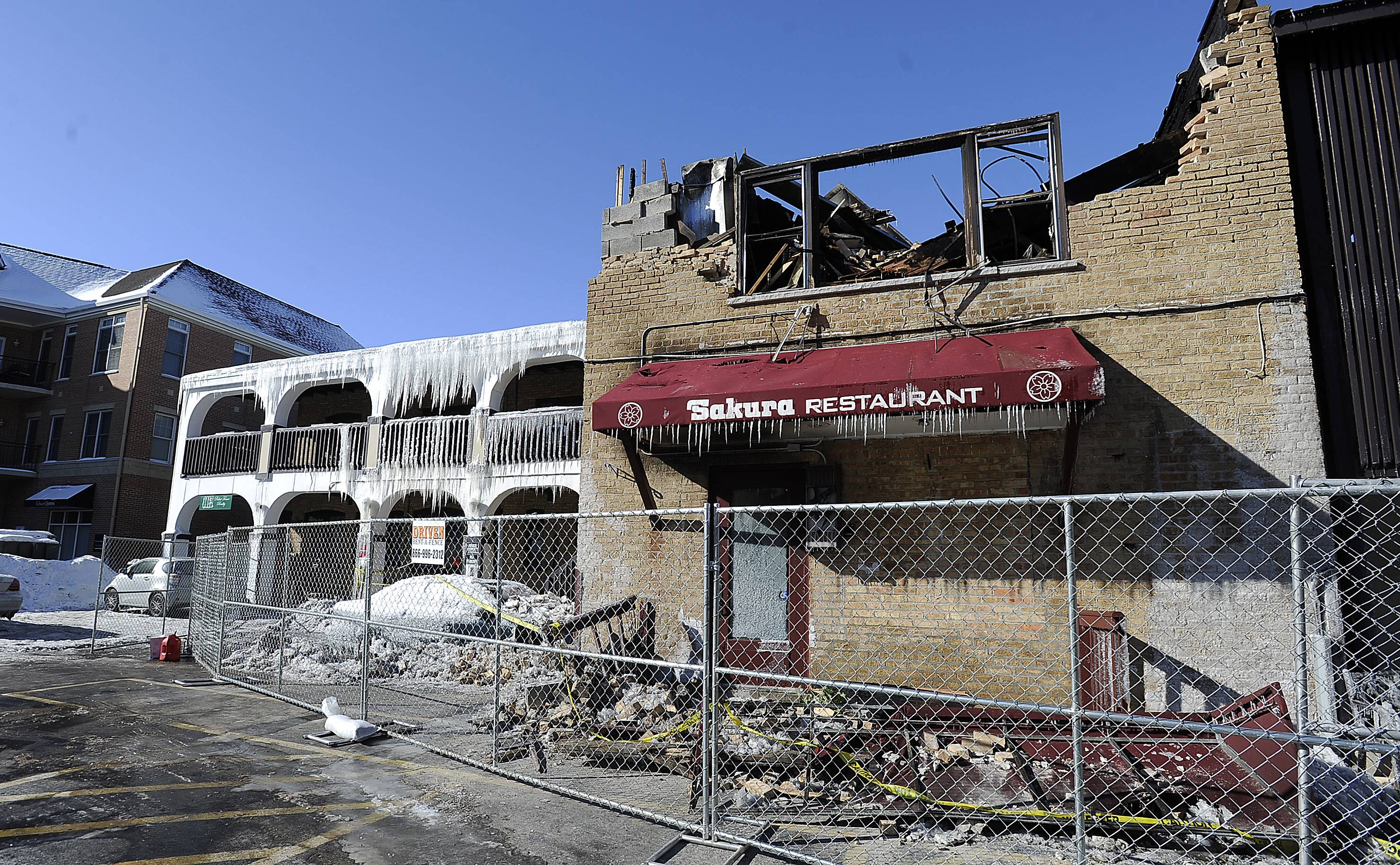 The Sakura Restaurant was one of the businesses hit hard by the weekend fire in a historic downtown Mount Prospect building. Village officials said Tuesday at least part of the building will have to be demolished because of the fire, the cause of which remains under investigation.