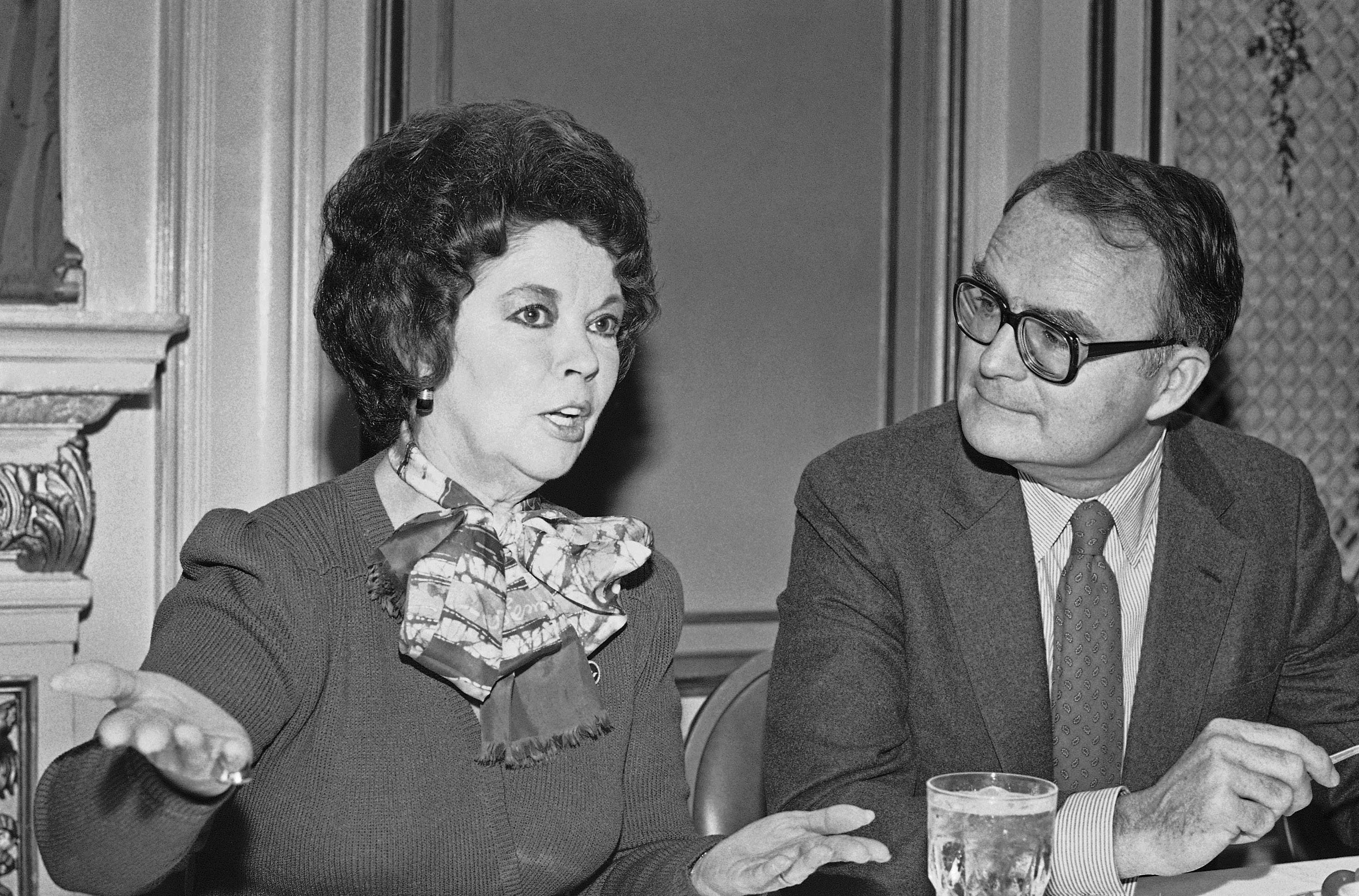 In this Oct. 27, 1984, file photo, Environmental Protection Agency administrator William Ruckelshaus listens to Shirley Temple Black before he speaks to the Commonwealth Club in San Francisco.