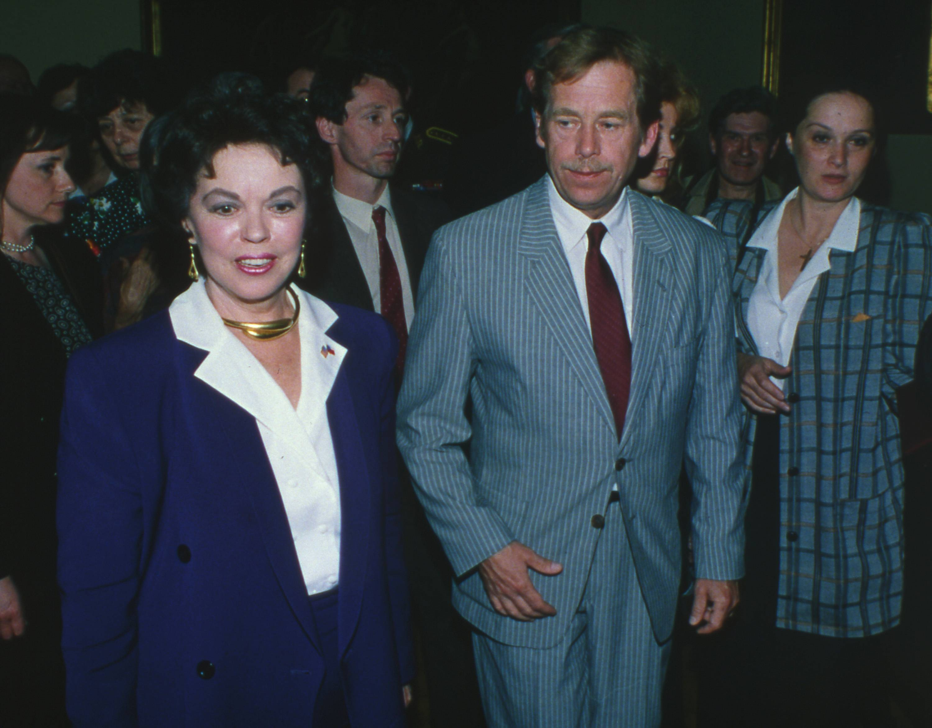 In this Sunday, May 6, 1990, file photo, U.S. Ambassador to Czechoslovakia Shirley Temple Black, left, and Czechoslovakian President Vaclav Havel take part in the celebration of the 45th anniversary of the Liberation of Pilsen at Pilsen Town Hall, Czechoslovakia.