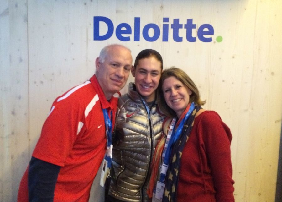 Steve Brown, left, Jason Brown and Marla Brown at the Olympics in Sochi.