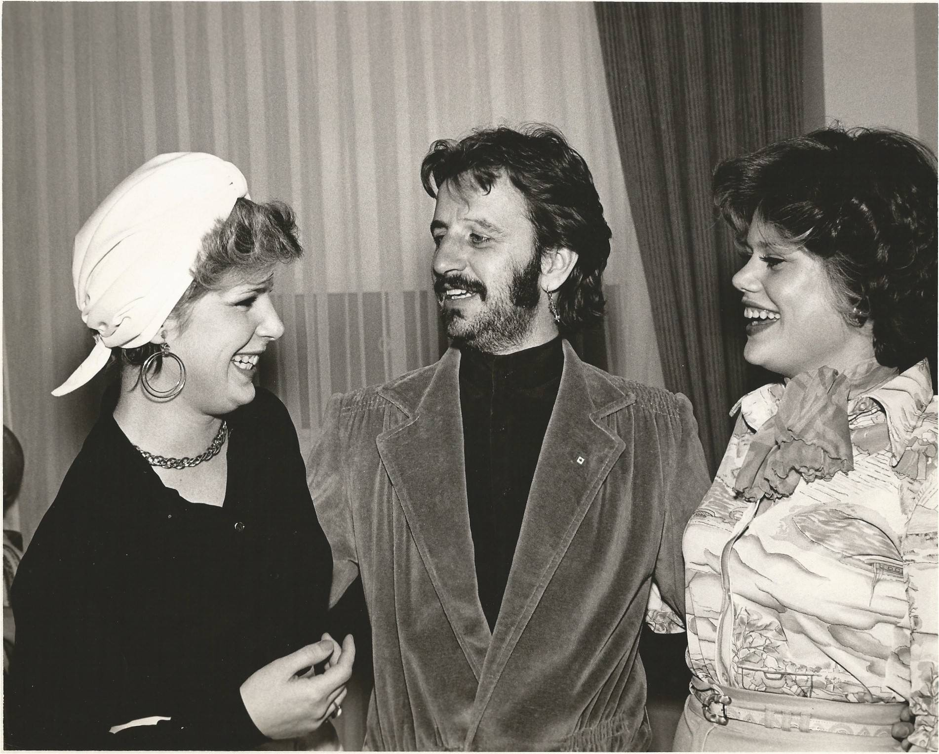 Sisters Debbie, 18, right, and Janet, 19, Frontier enjoy an evening with Ringo Starr in 1975. Jeanette Frontier won a radio station contest and gave her daughters the prize.