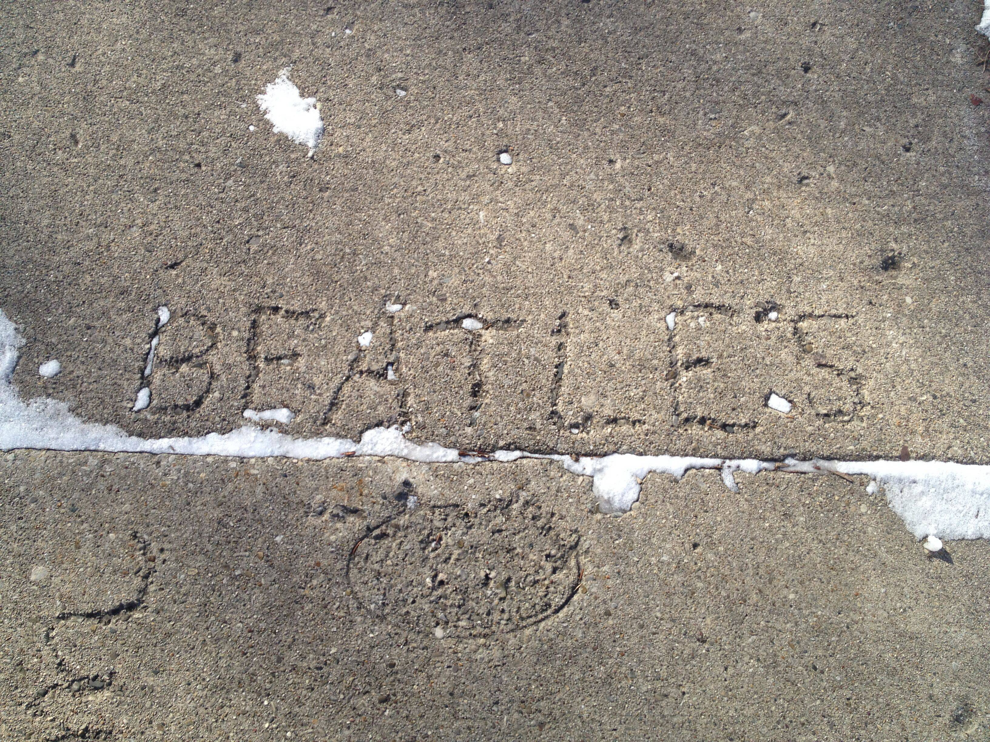 Having survived nearly five decades of winters, this homage to The Beatles still marks a sidewalk in Rolling Meadows.