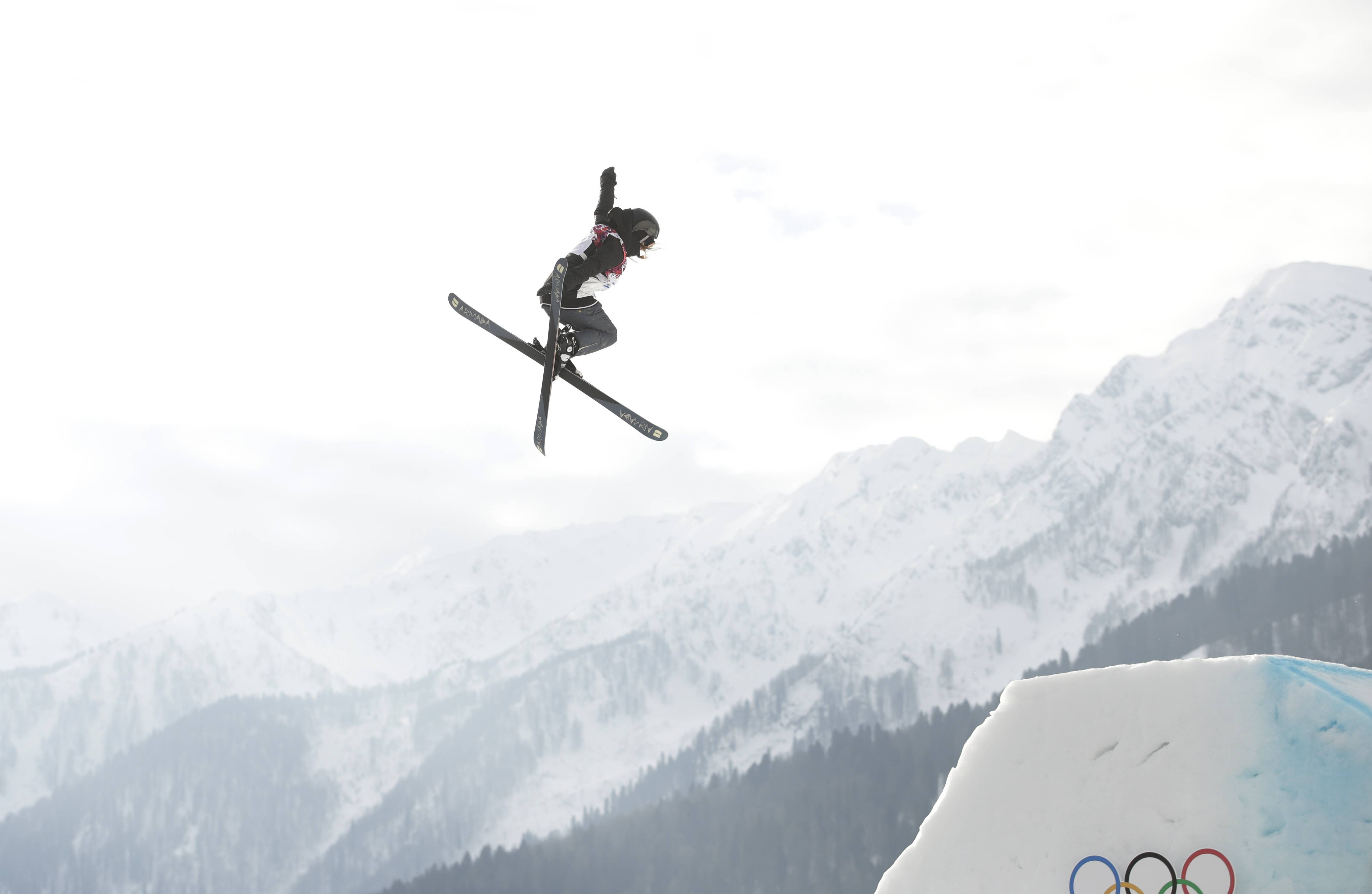 Germany's Lisa Zimmermann takes a jump during the women's freestyle skiing slopestyle qualifying.