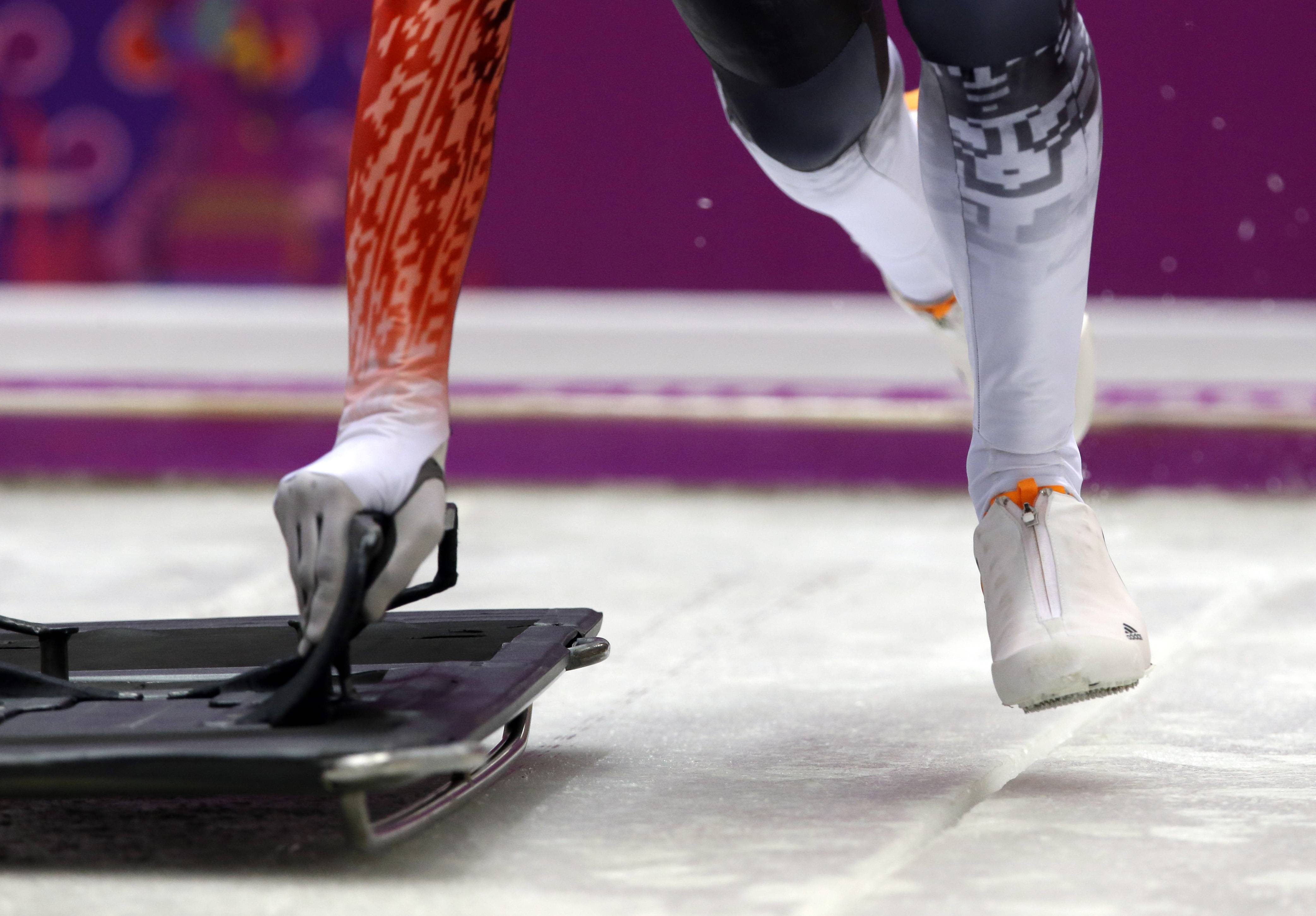Raphael Maier of Austria starts a run during the men's skeleton training.