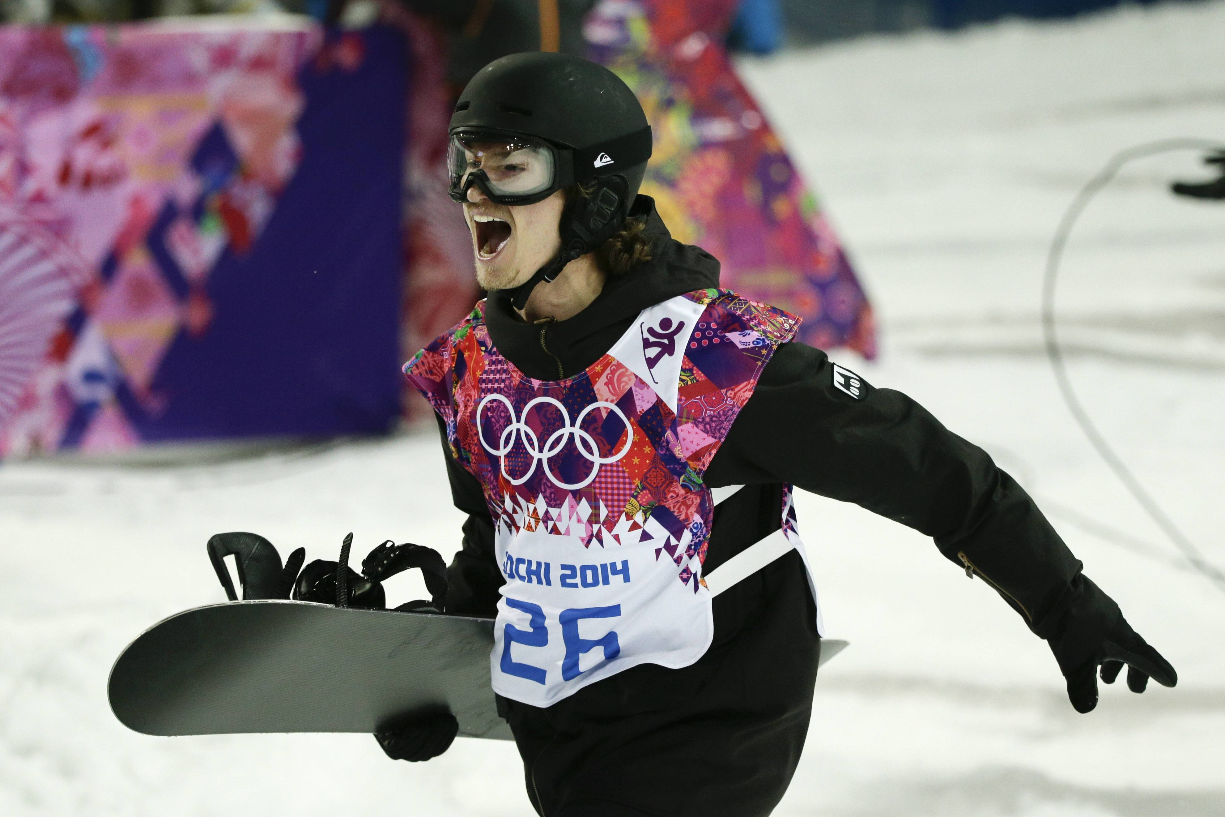 Switzerland's Iouri Podladtchikov reacts after competing in the men's snowboard halfpipe final.