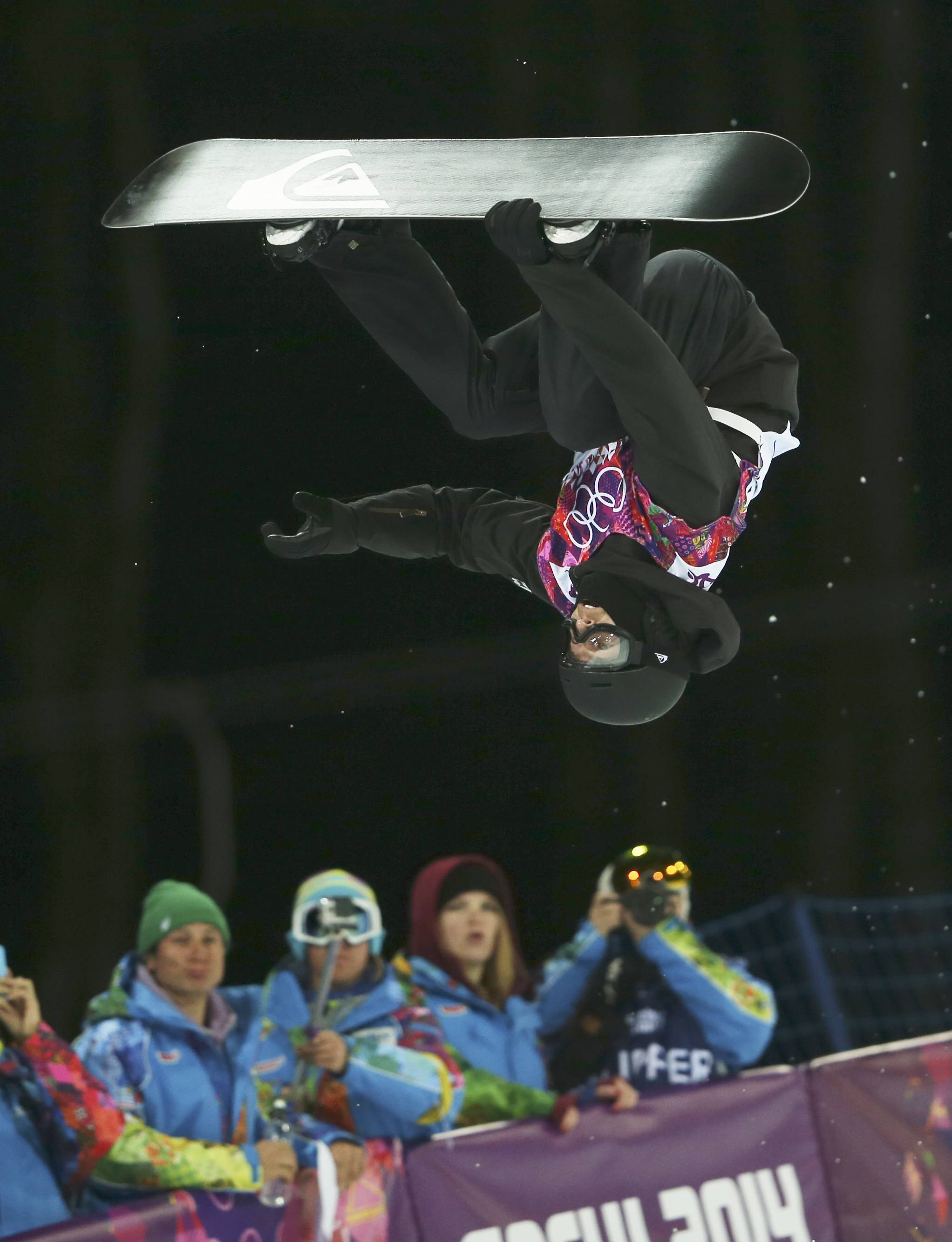 Switzerland's Iouri Podladtchikov competes in the men's snowboard halfpipe final. Podladtchikov won the gold medal.