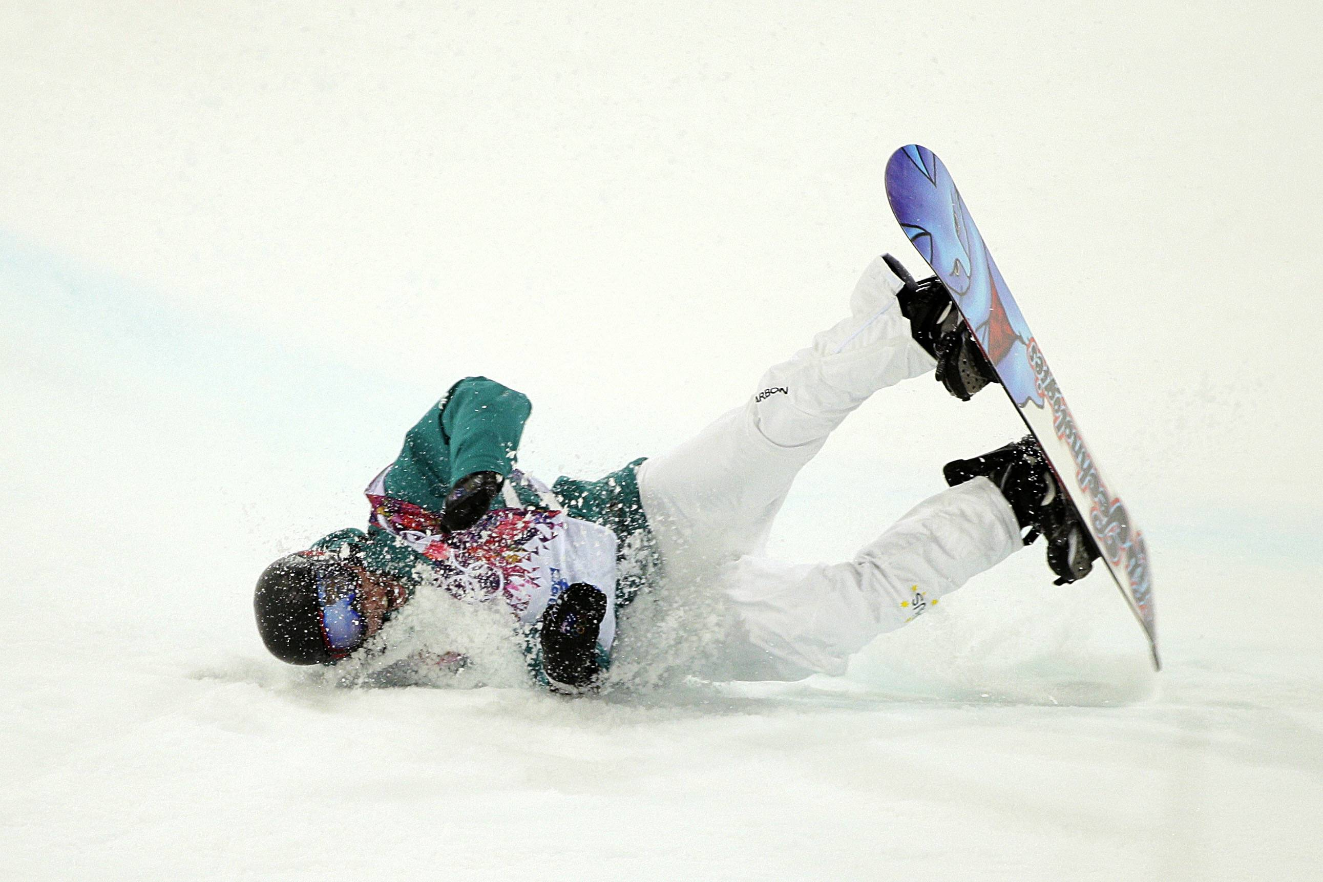 Australia's Kent Callister crashes during the men's snowboard halfpipe final.