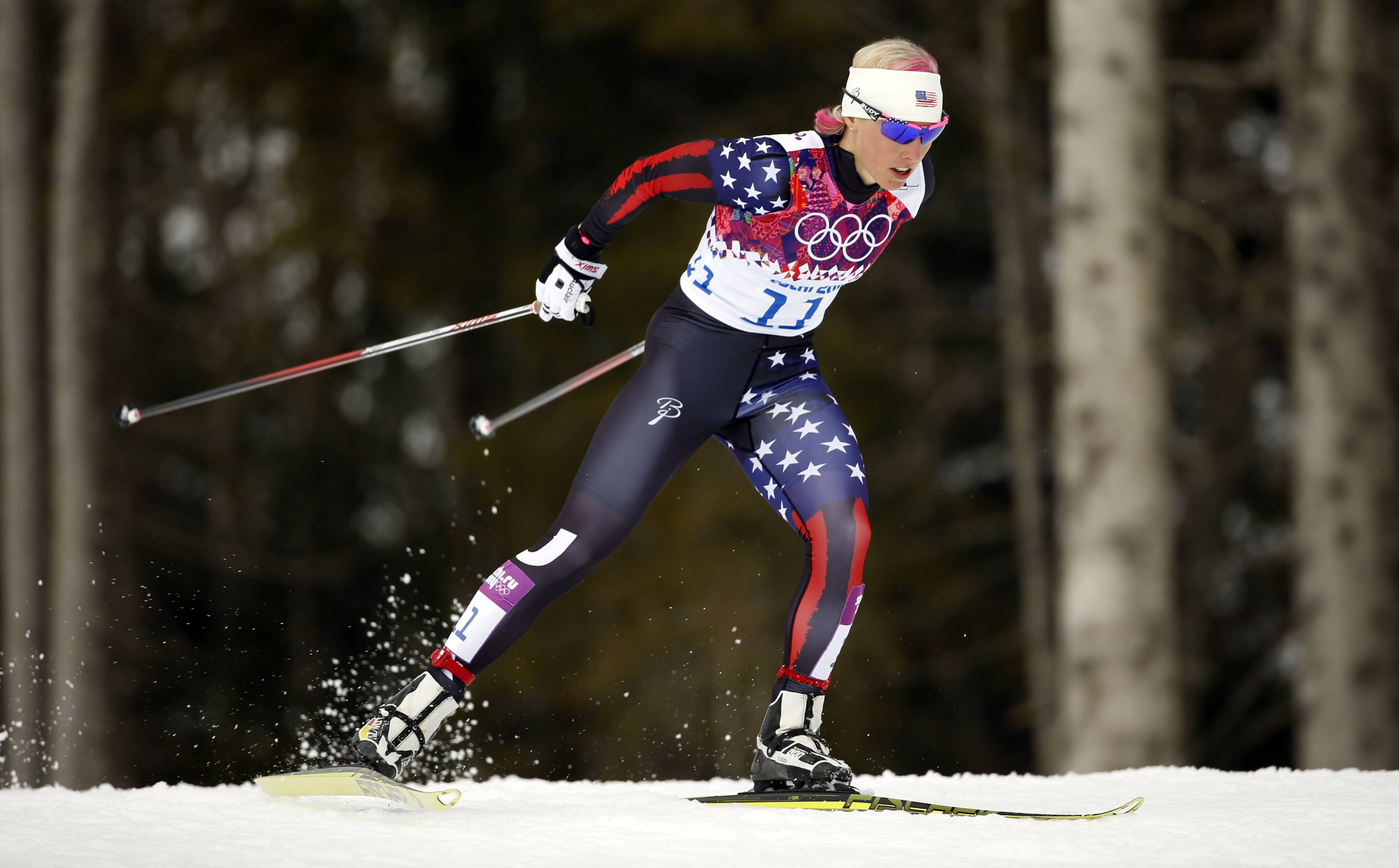 United States' Kikkan Randall competes during the women's qualifications of the cross-country sprint.