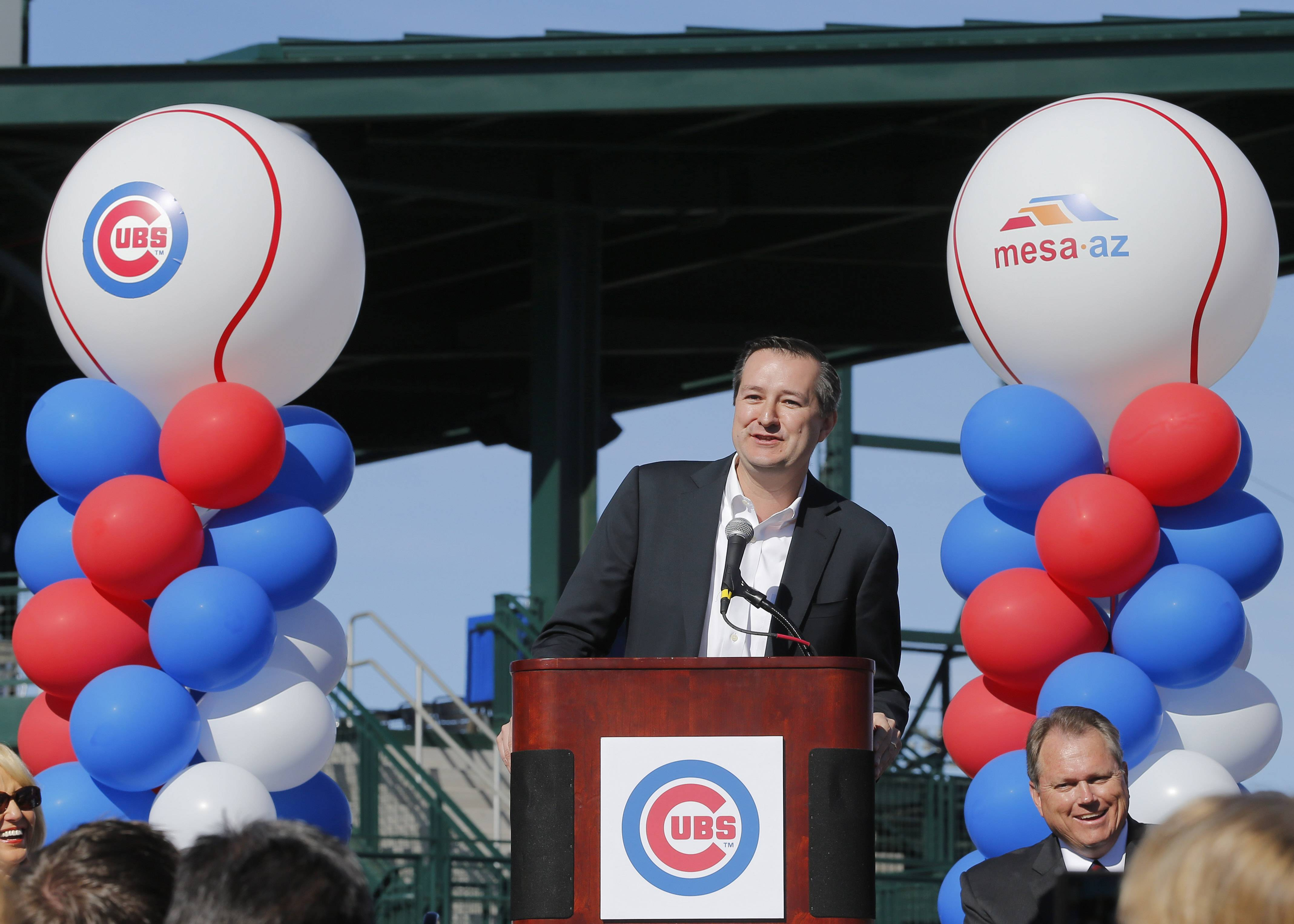 Chicago Cubs Chairman Tom Ricketts speaks during a ceremony to unveil the Cubs' new Cactus League spring training baseball facility, Wednesday, Feb. 12, 2014, in Mesa, Ariz. (AP Photo/Matt York)