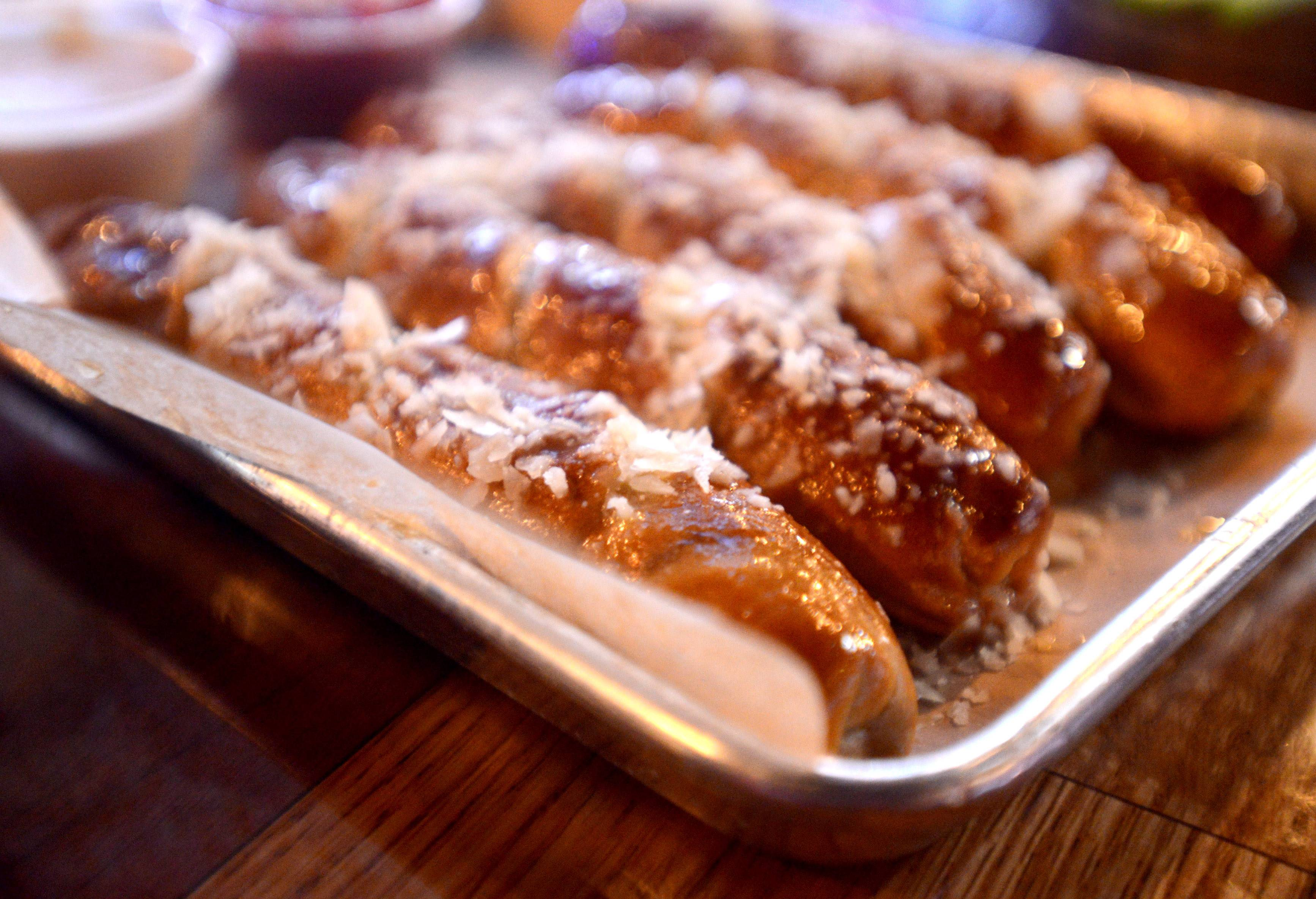 Pretzel sticks make a hearty starter at M T Barrels.