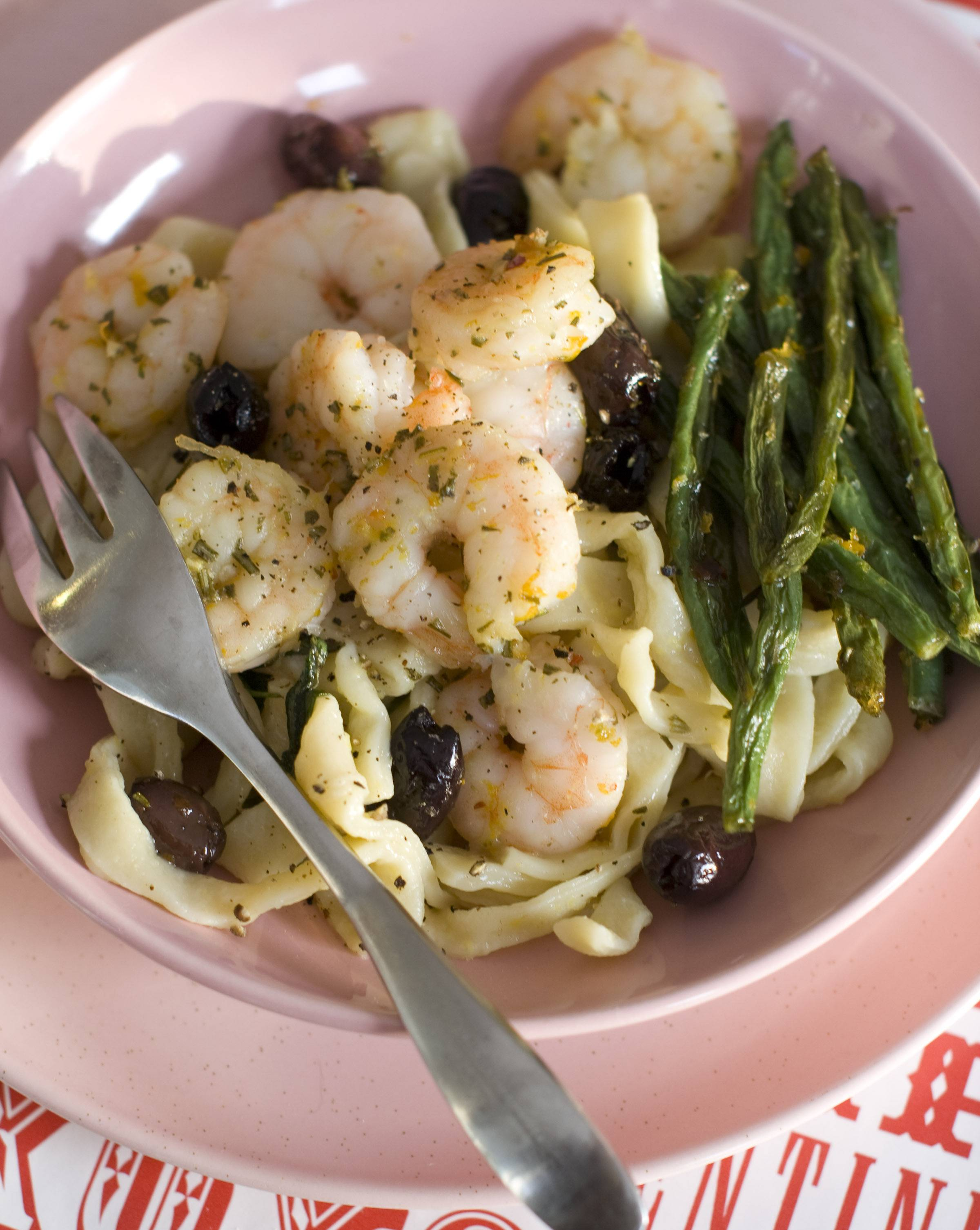 Show your valentine you're sweet on her with this honey-infused dinner of roasted shrimp with green beans and olives.