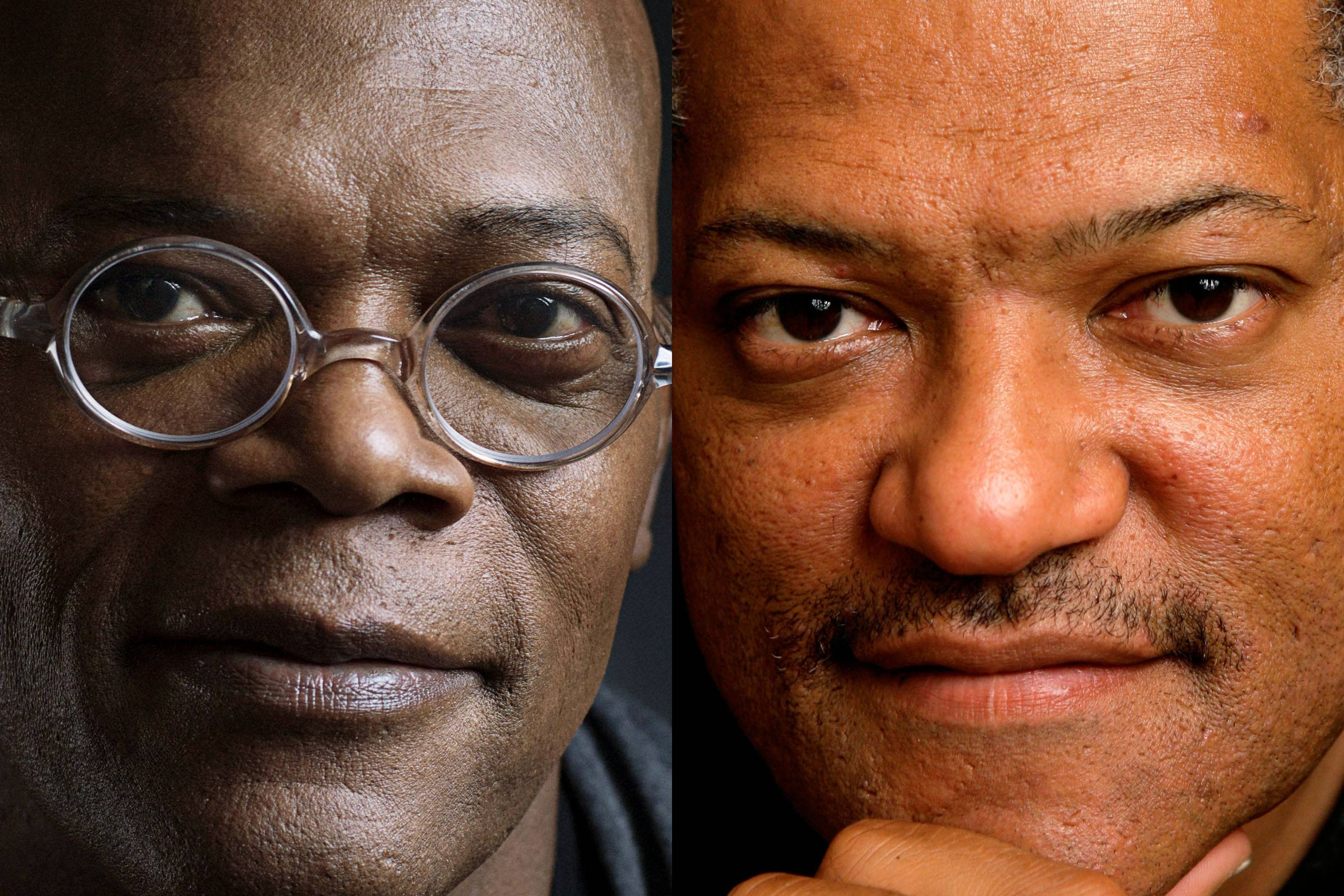 This combination of 2012 and 2008 file photos shows actors Samuel L. Jackson and Laurence Fishburne. A Los Angeles newscaster apologized to Jackson for confusing him with Fishburne during a live TV interview Monday.