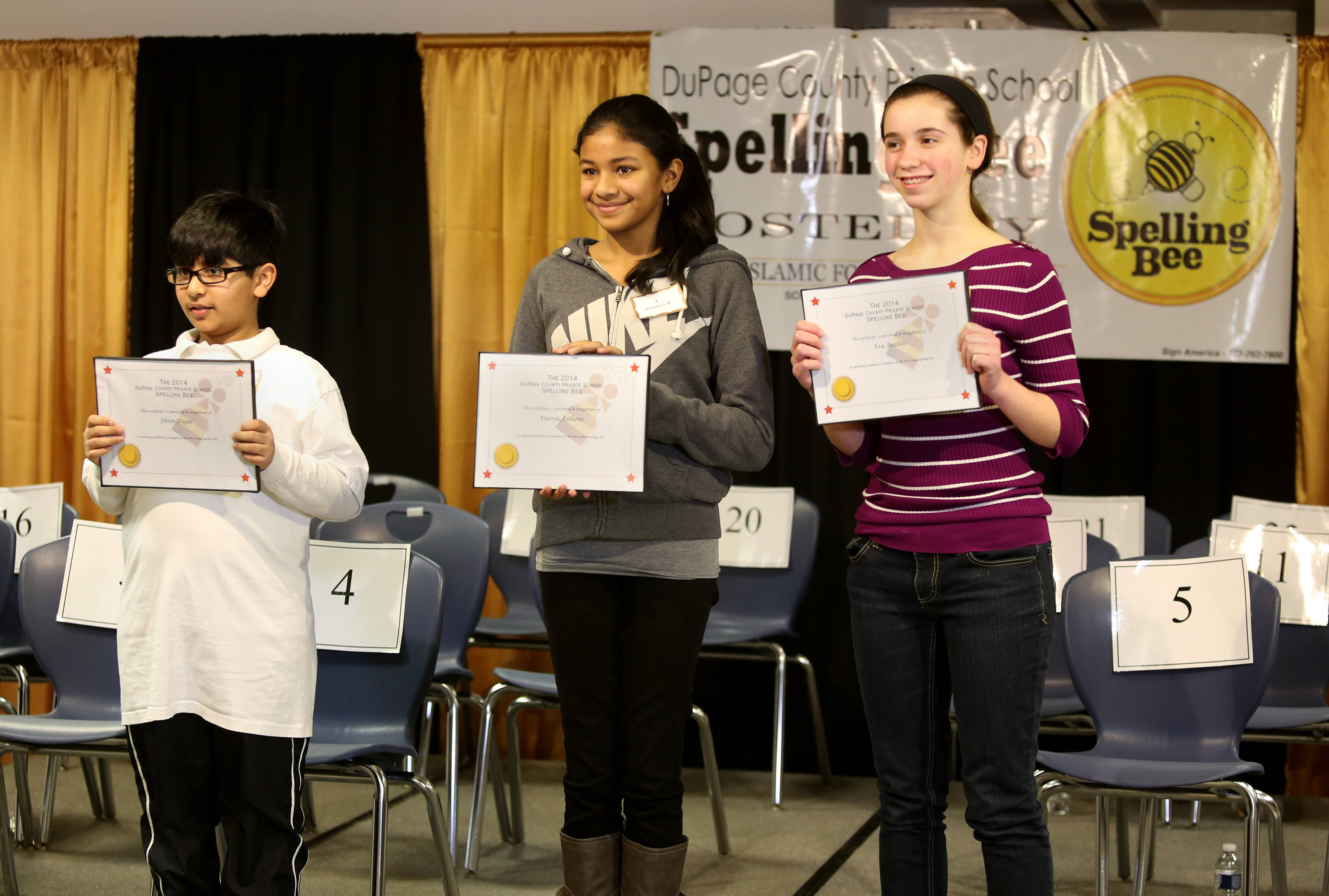 Jibran Haque from the College Preparatory School of America in Lombard, Ananya Asthana from Avery Coonley School in Downers Grove and Eva Analitis from St. Raphael Catholic School in Naperville each advanced to the next round of the Scripps National Spelling Bee with stellar performances on Wednesday.