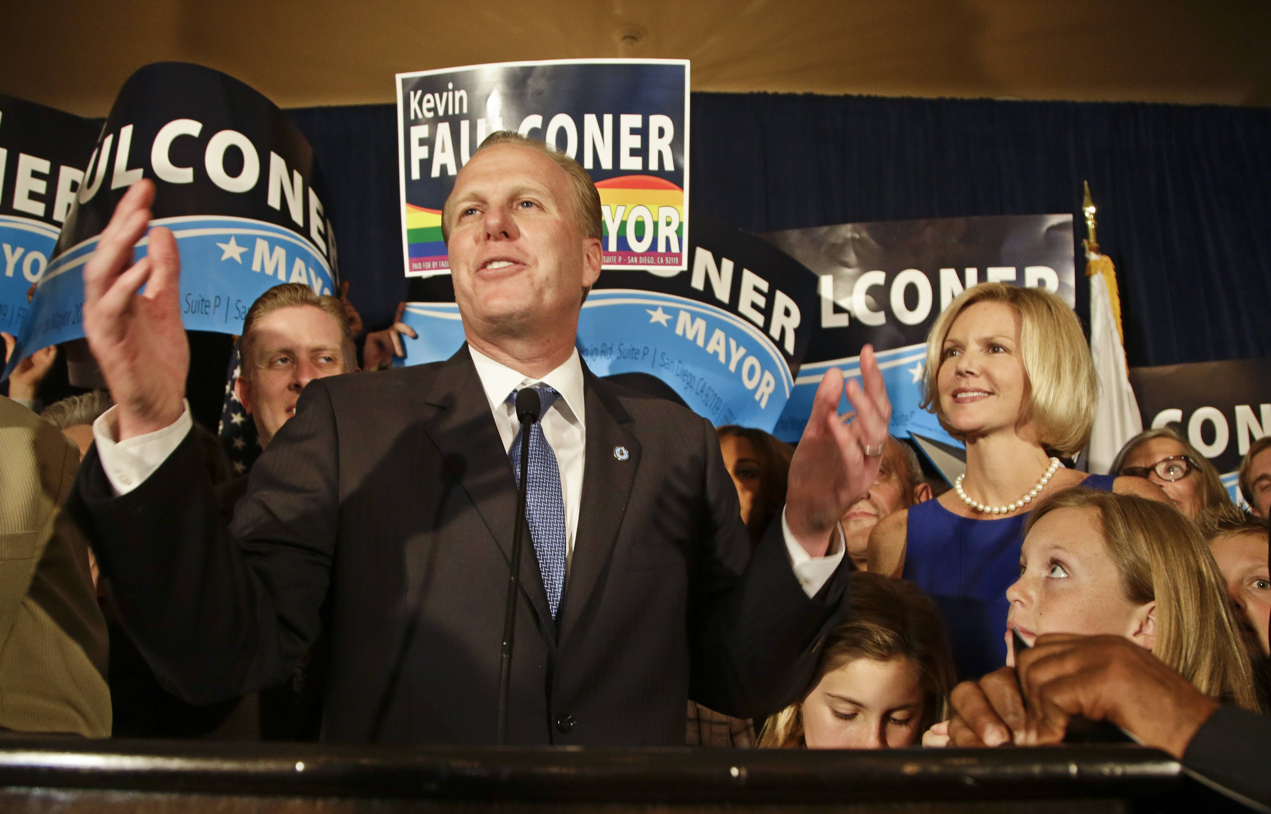 San Diego mayoral candidate Kevin Faulconer tells his supporters that while there are still votes to be counted they are looking good at a rally Tuesday, Feb. 11, 2014, in San Diego.