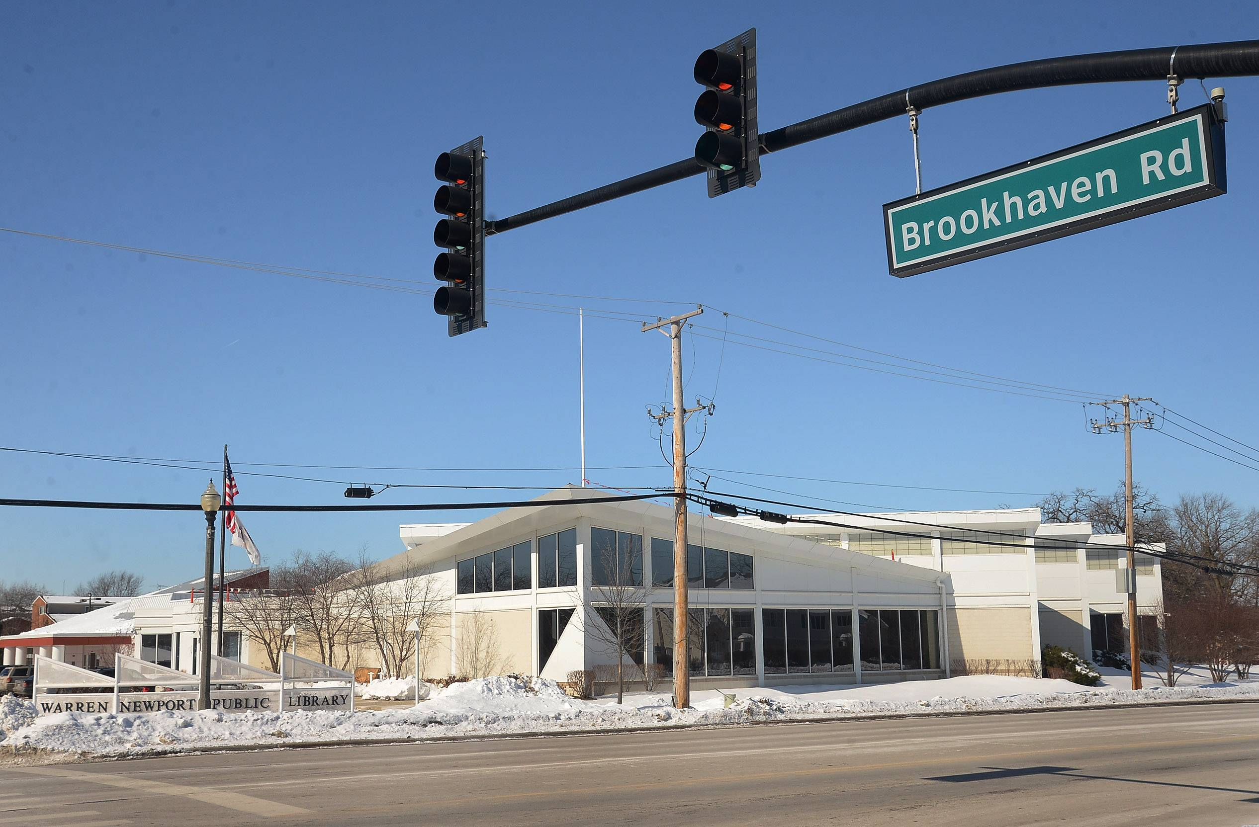 "Brookhaven Road leads to Warren-Newport Public Library in Gurnee. Library officials have floated the idea of renaming the street ""Book Haven."""