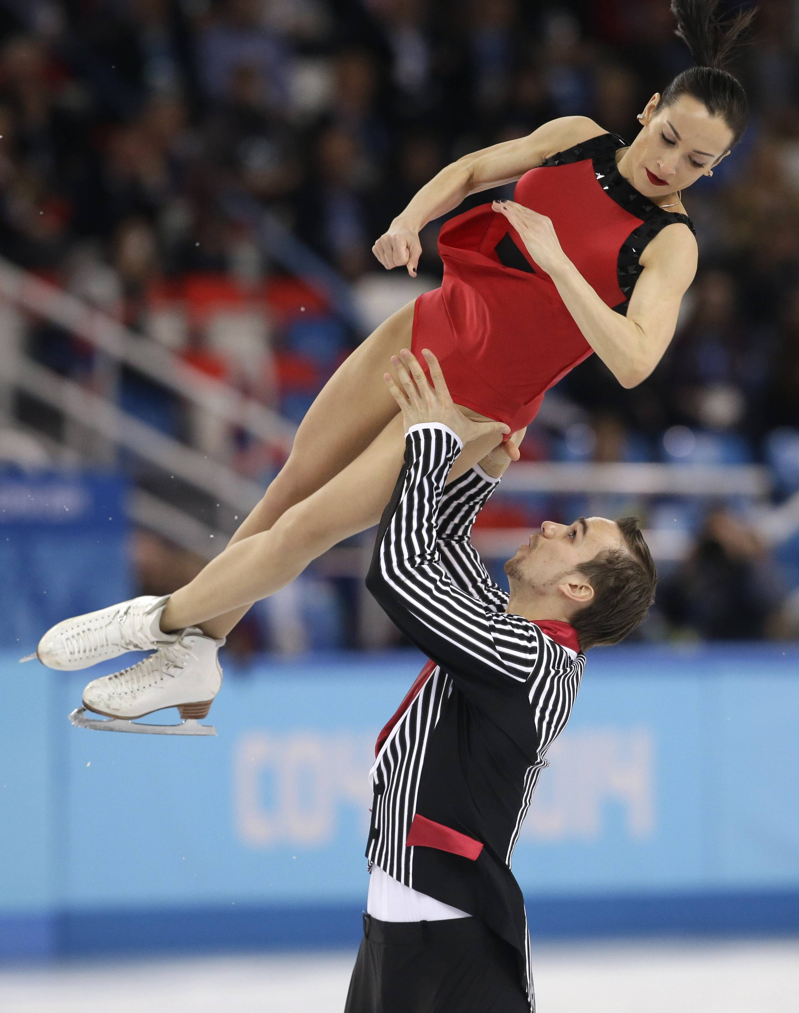 Ksenia Stolbova and Fedor Klimov of Russia compete in the pairs free skate figure skating.