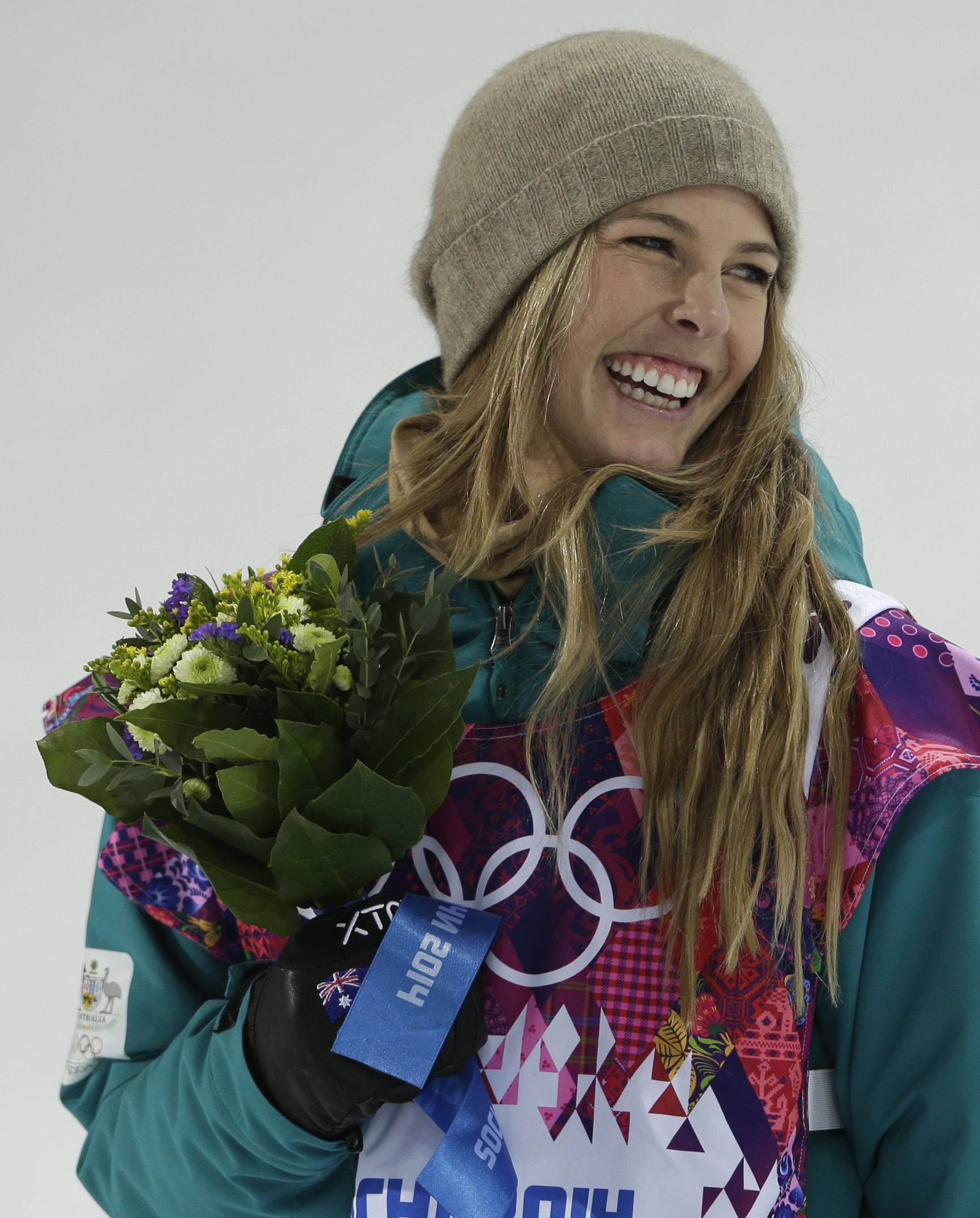 Australia's Torah Bright celebrates after clinching the silver medal in the women's snowboard halfpipe.