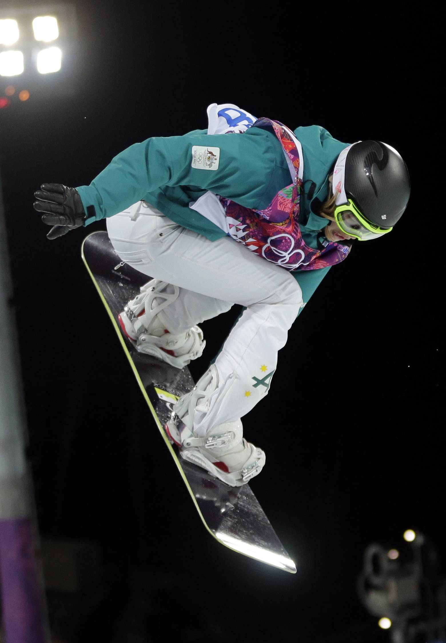 Australia's Torah Bright competes to win the silver medal in the women's snowboard halfpipe.