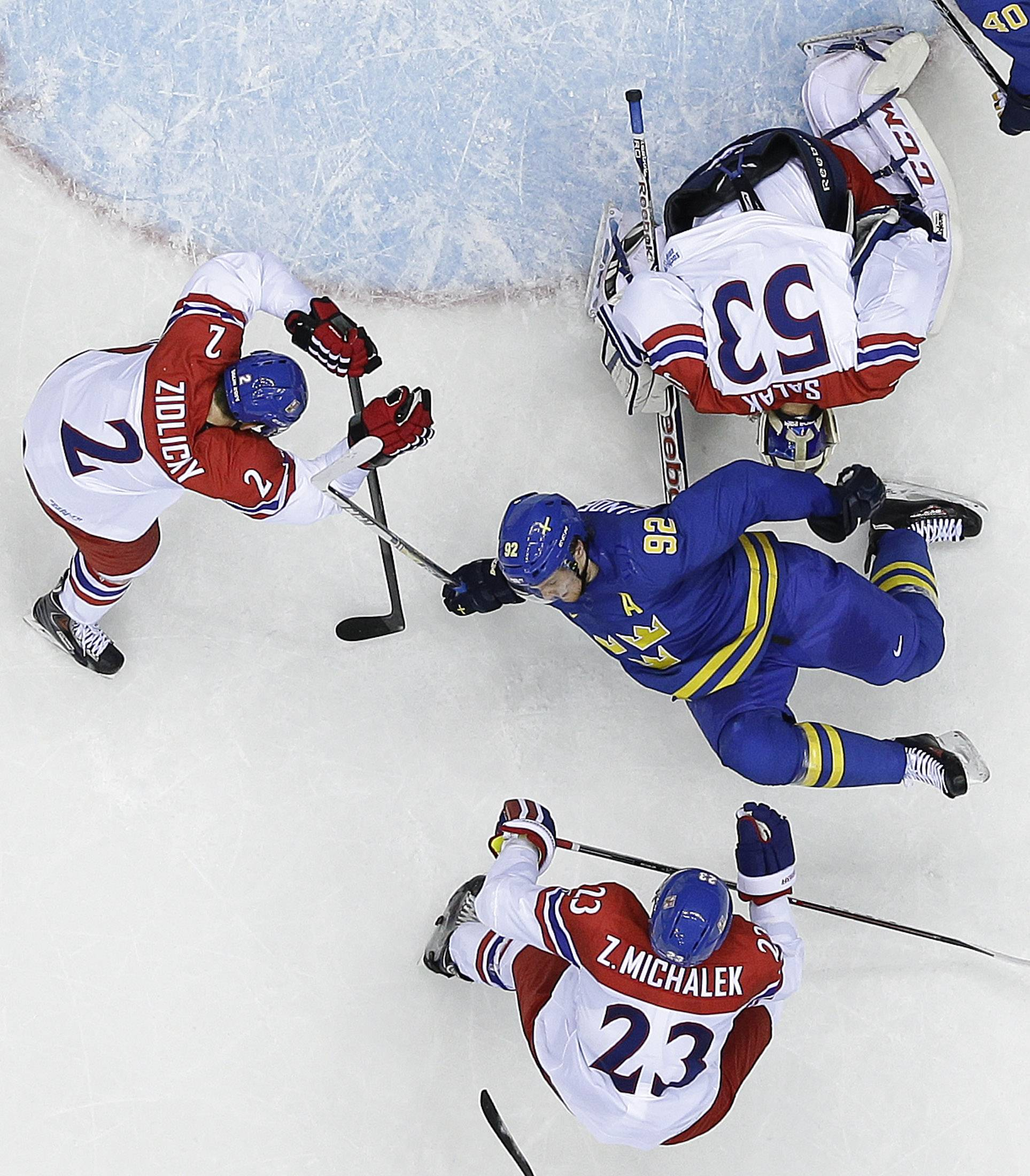 Sweden forward Gabriel Landeskog trips against the Czech Republic in the second period.