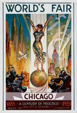 Copies of posters like this one are included in the display of 1933 World's Fair memorabilia on exhibit at the Schaumburg Township District Library. Unknown
