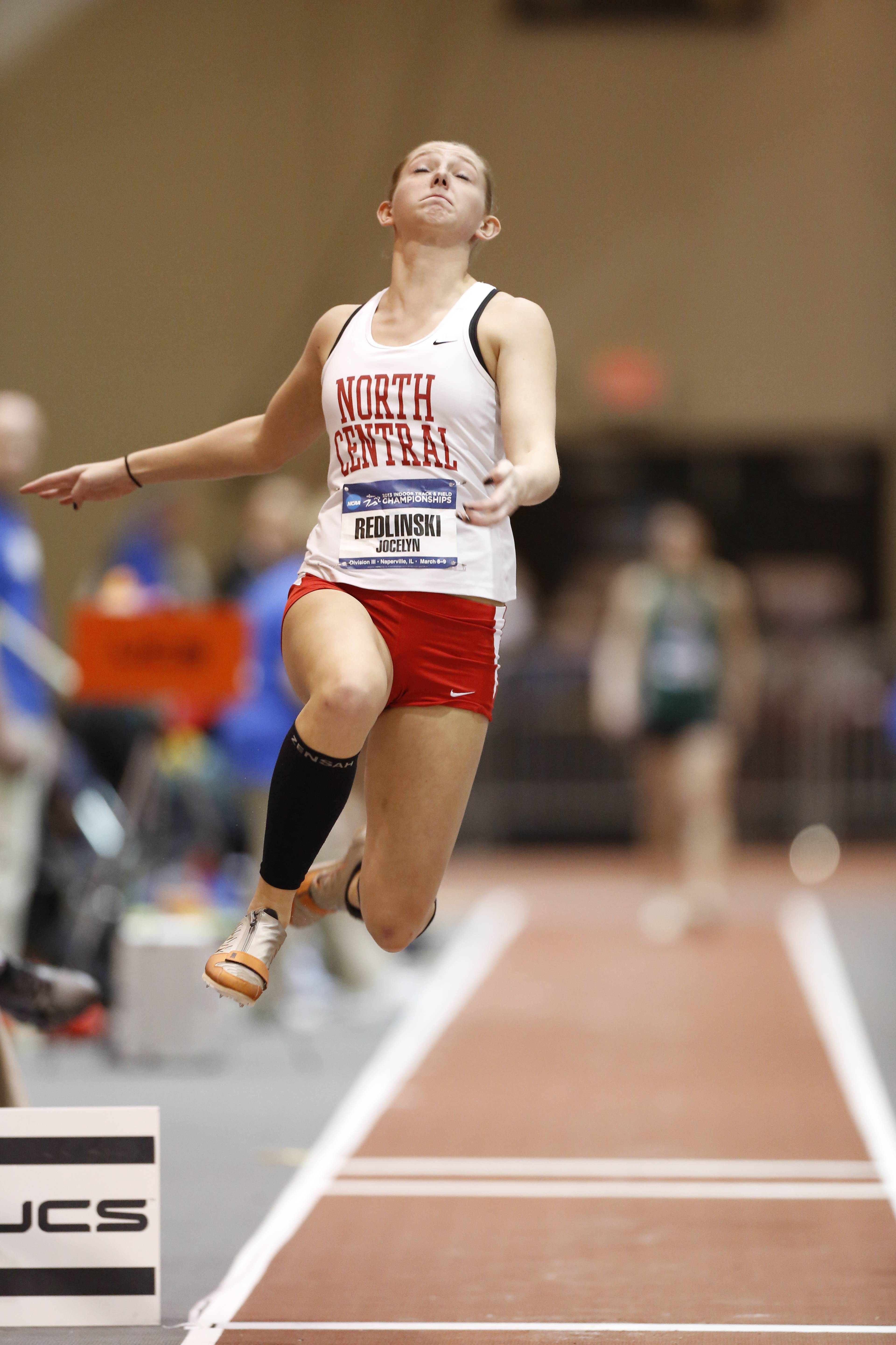 Jocelyn Redlinski competing in the 2013 NCAA Division III Indoor Track & Field Championships at Al B. Carius Track in Naperville.Steve Woltmann