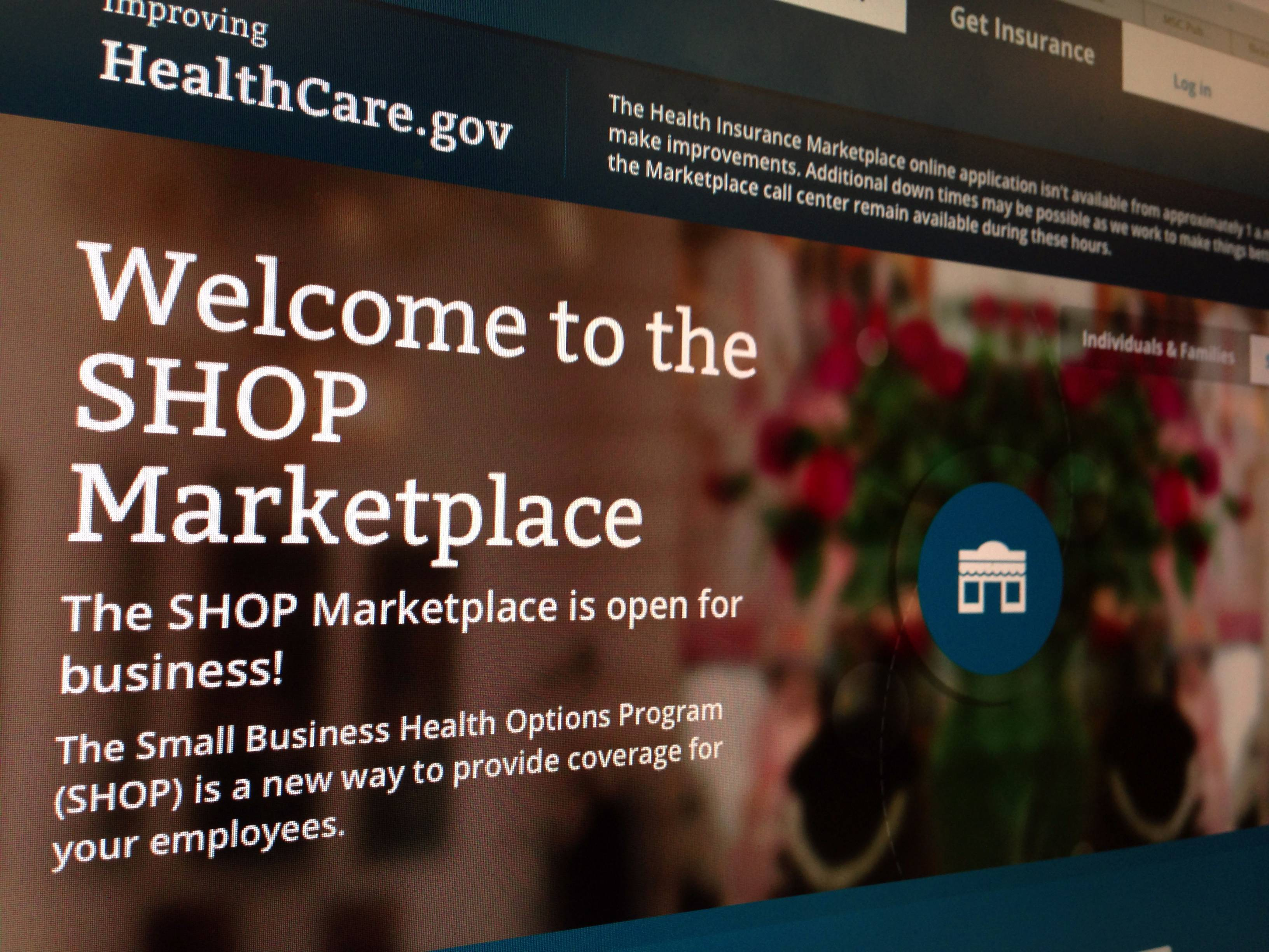 Part of the HealthCare.gov website page featuring information about the SHOP Marketplace in Washington.
