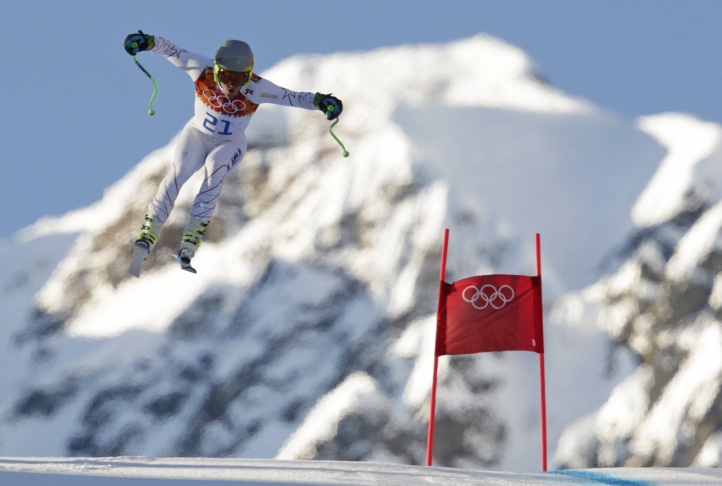United States skier Ted Ligety makes a jump Thursday during men's downhill combined training at the Sochi 2014 Winter Olympics in Krasnaya Polyana, Russia.