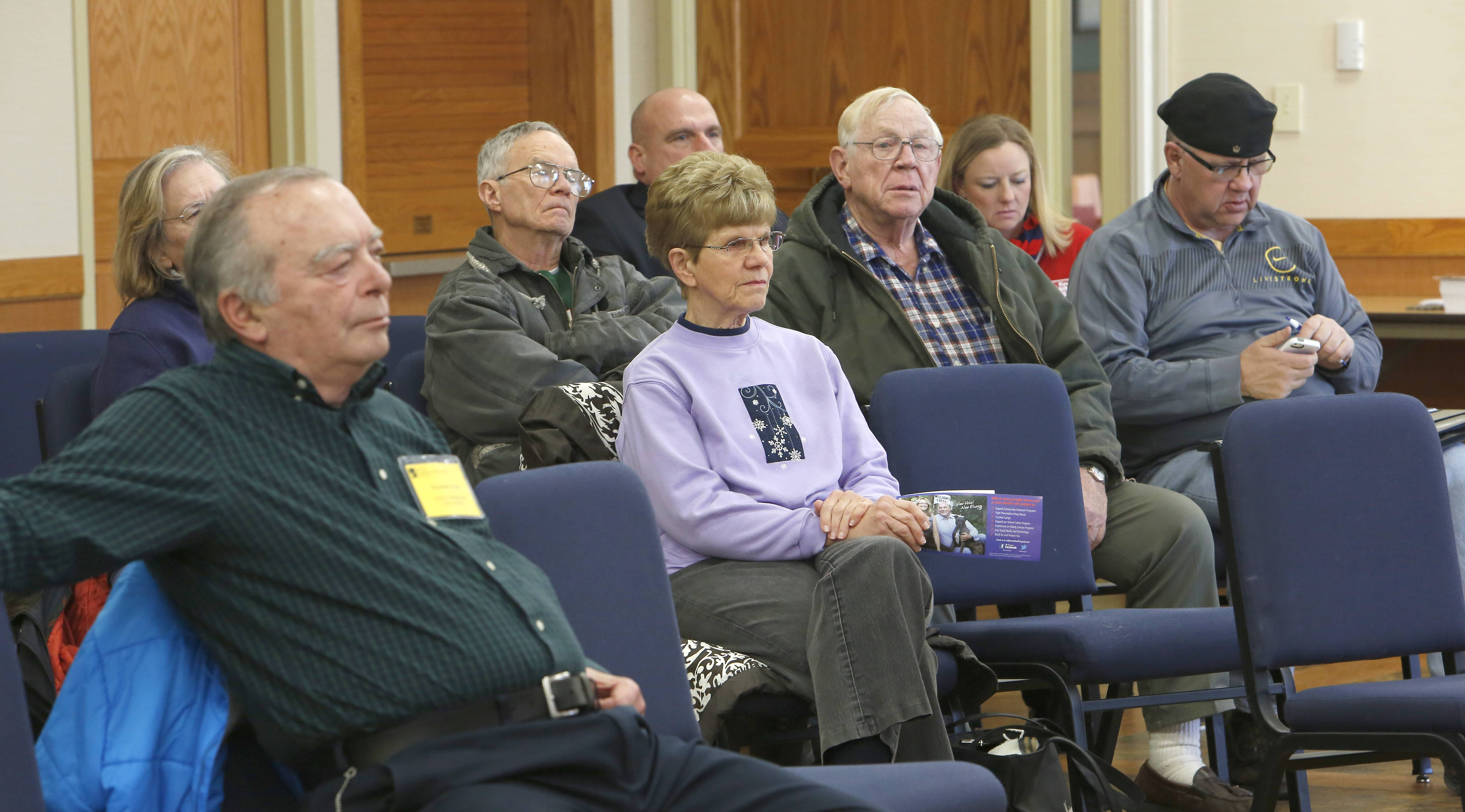 More than 20 people gathered Thursday to listen and ask questions of candidates for the Republican nomination for the state's 65th House District seat at Sun City in Huntley.