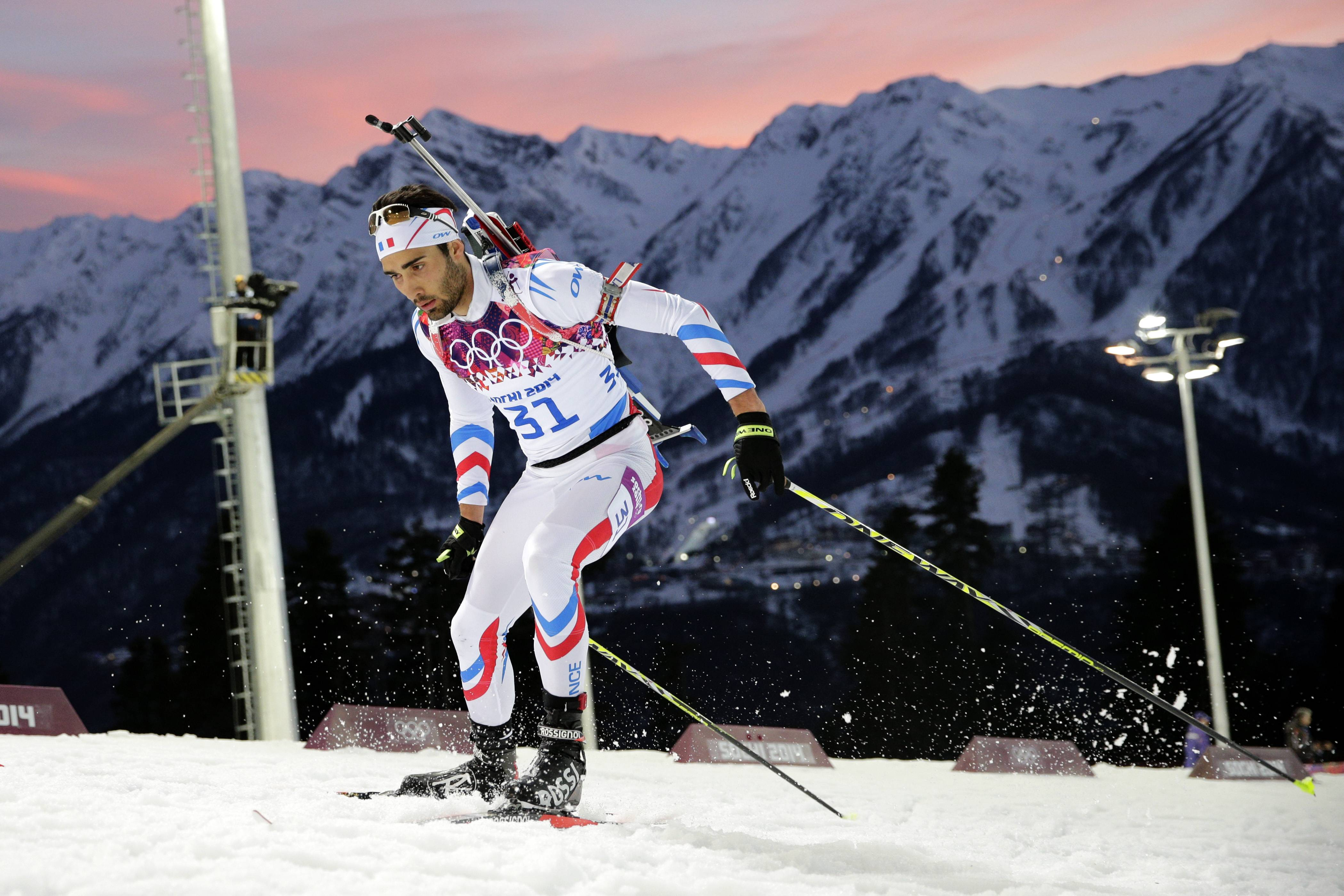 France's Martin Fourcade competes during the men's biathlon 20k individual race.