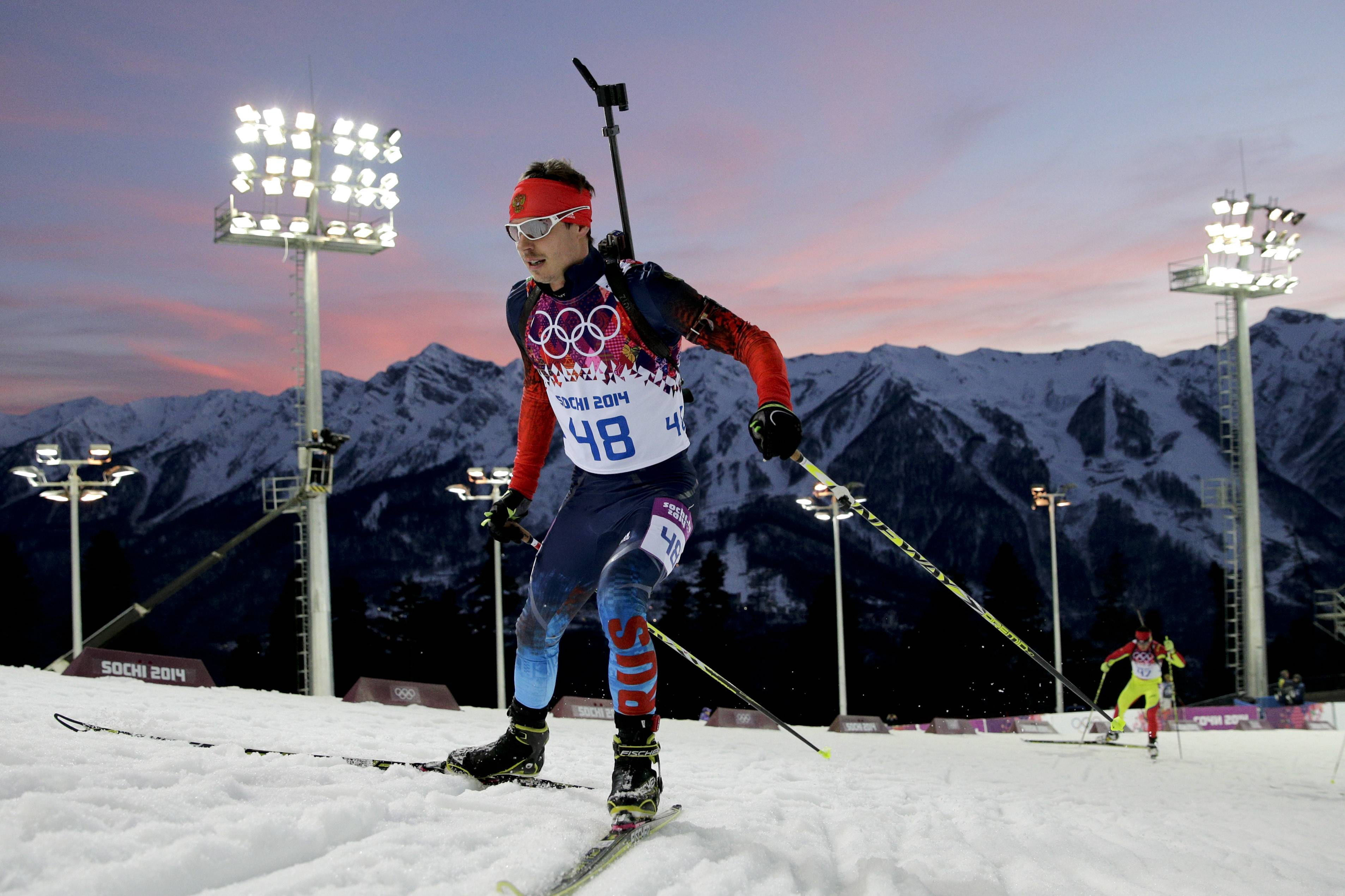 Russia's Yevgeny Ustyugov competes during the men's biathlon 20k individual race.