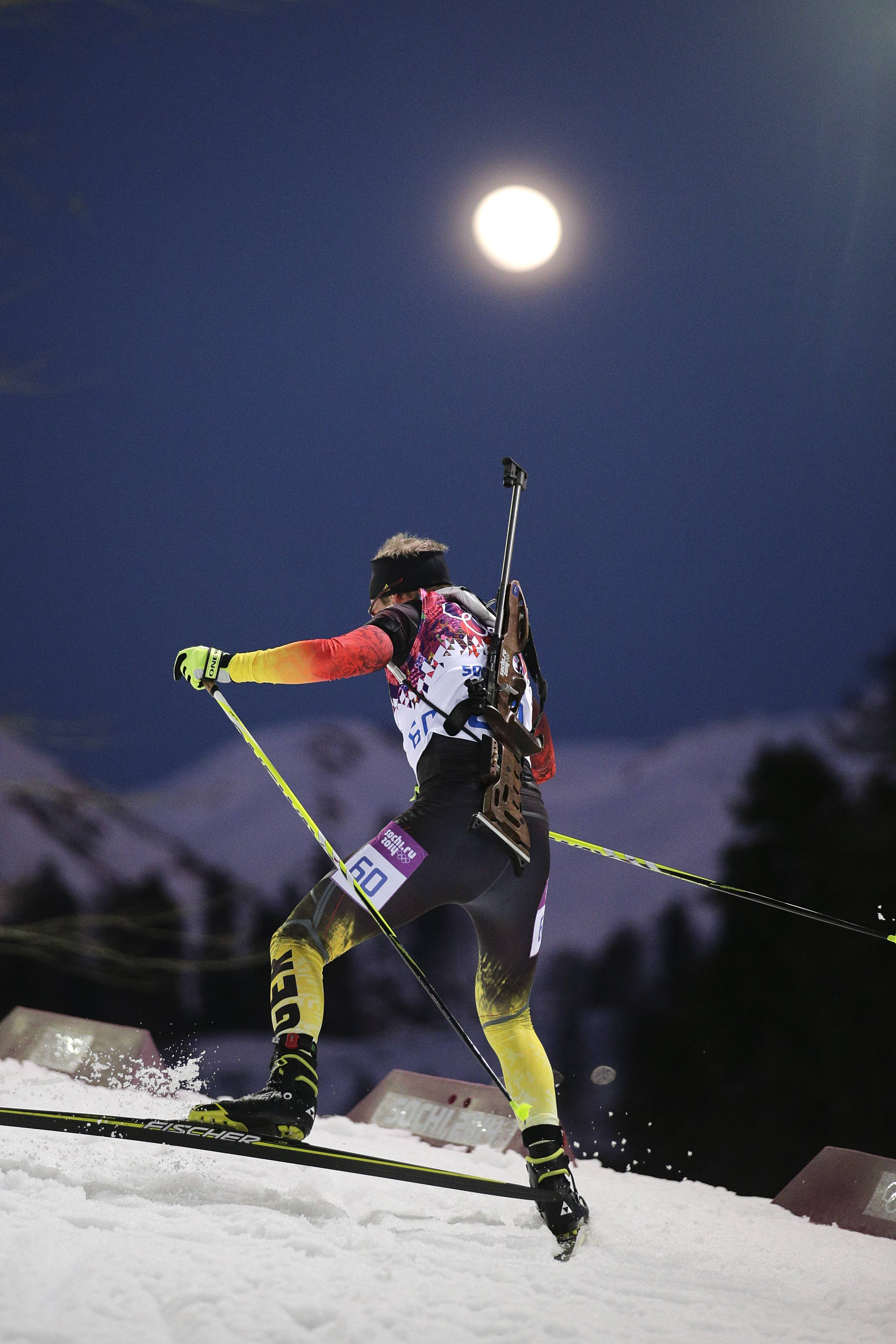 Germany's Daniel Boehm competes during the men's biathlon 20k individual race.