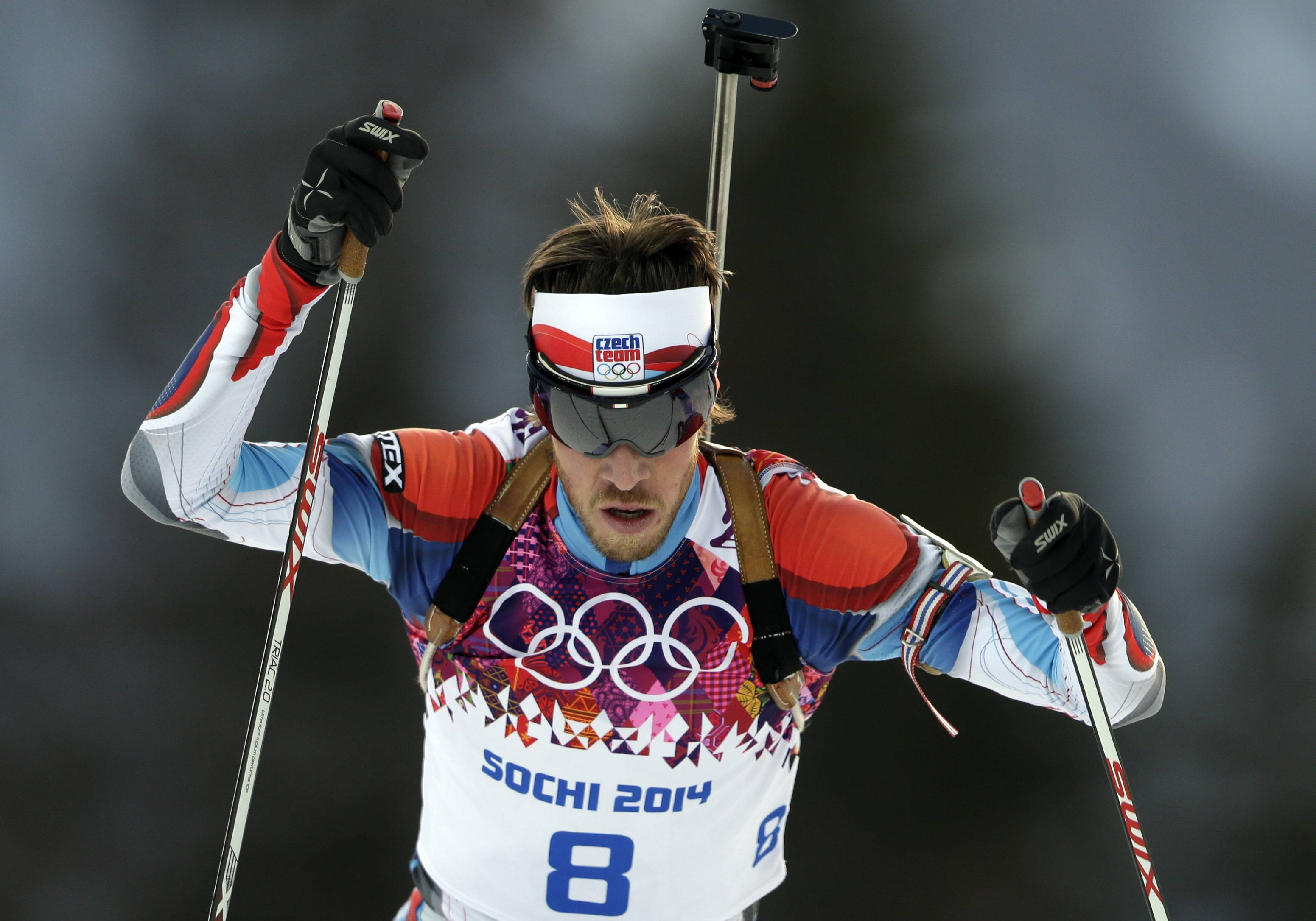 Czech Republic's Jaroslav Soukup competes during the men's biathlon 20k individual race.