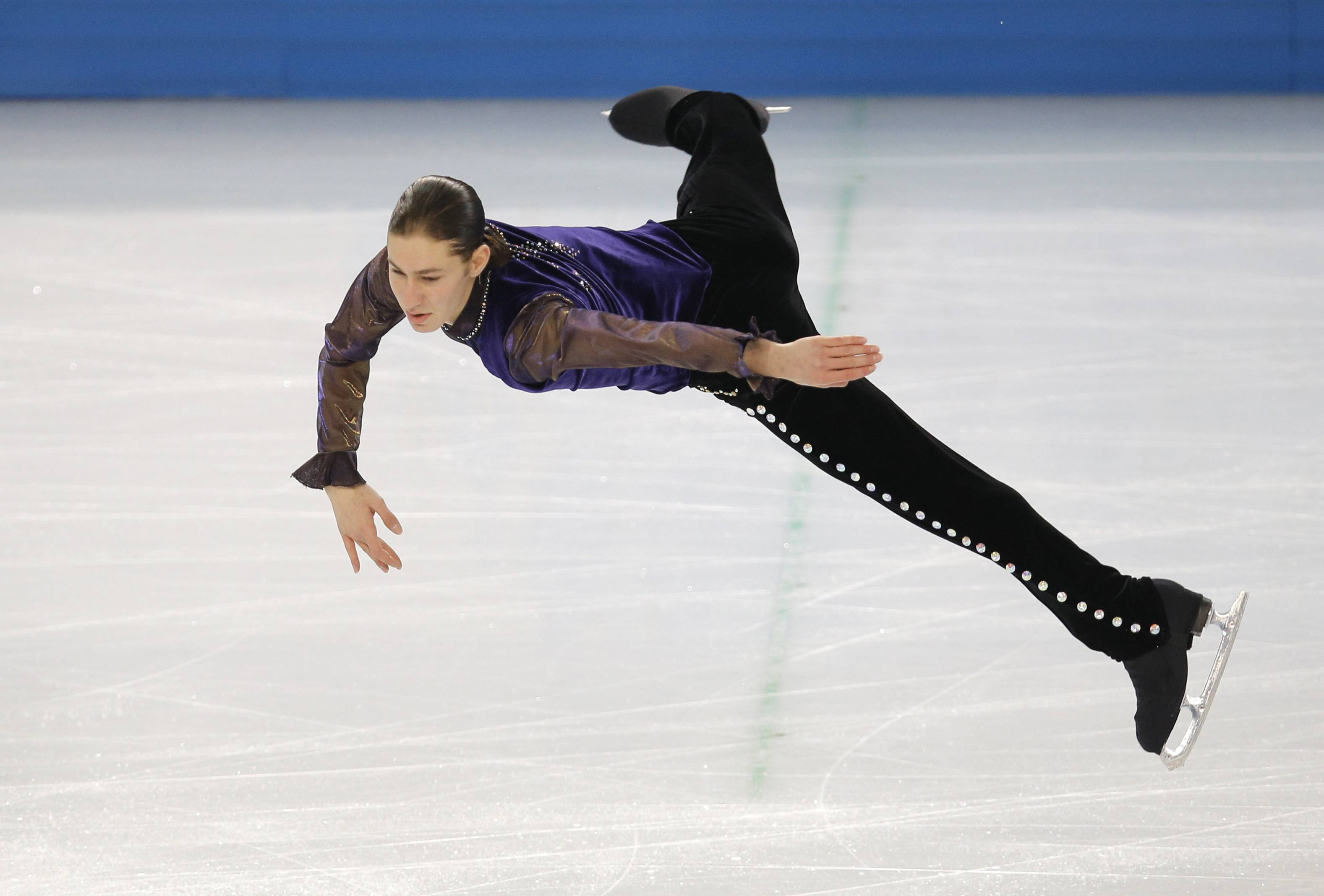 Jason Brown competes Thursday in the men's short program figure skating competition at the Iceberg Skating Palace during the 2014 Winter Olympics.