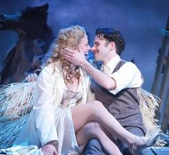 """Dr. Frankenstein (Devin DeSantis), left, gets cozy with his sexy assistant Inga (Allison Sill) in Drury Lane Theatre's production of """"Young Frankenstein."""""""