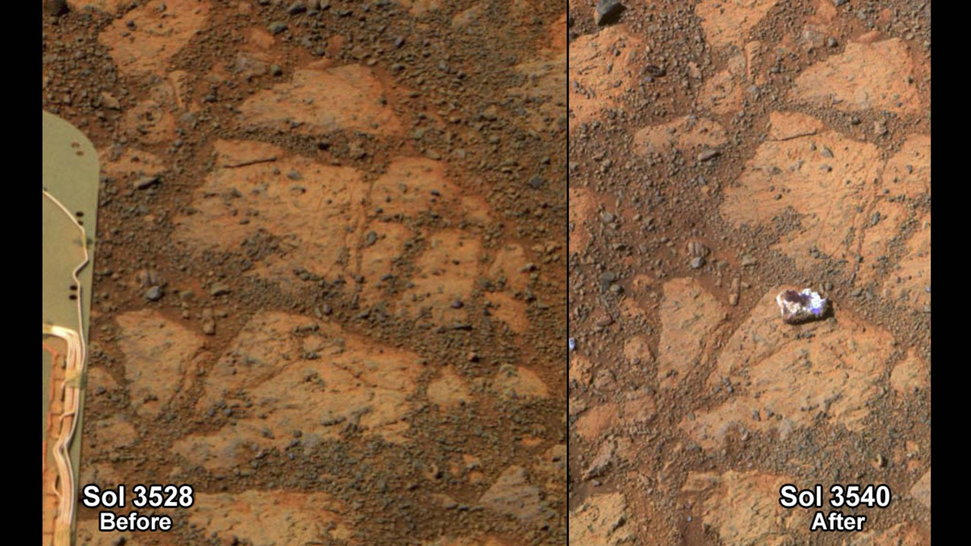 This composite image shows before and-after images taken by the Opportunity rover. At left is an image of a patch of ground taken on Dec. 26, 2013. At right is in image taken on Jan. 8, 2014 showing a rock shaped like a jelly doughnut that had not been there before.