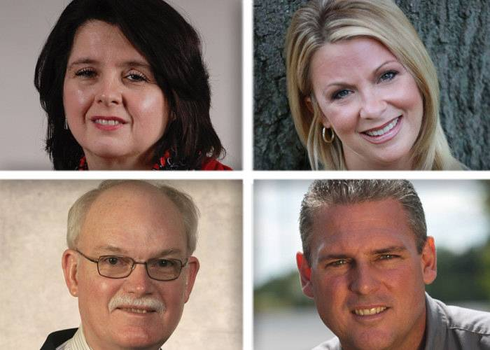 The 50th District state house candidates are, clockwise from upper left, Julie Cosimo, Beth Goncher, Keith Wheeler and Bill Keck.