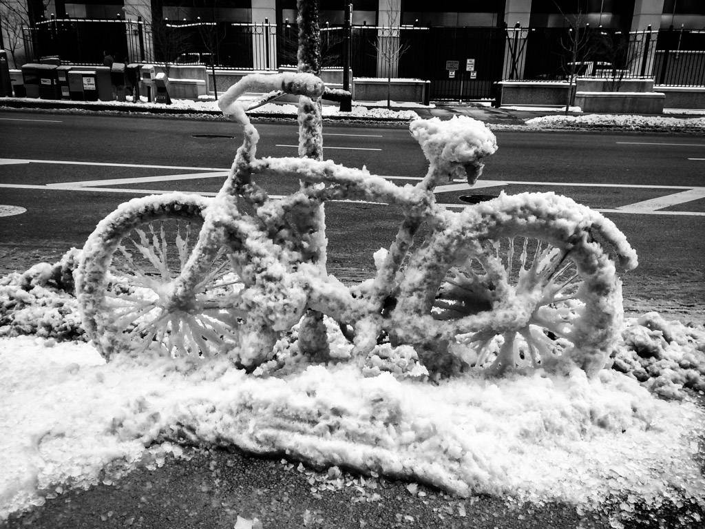The winter of 2013-2014 won't soon be forgotten. The owner of this bike along a street in Chicago probably hopes that it will end sooner than later.
