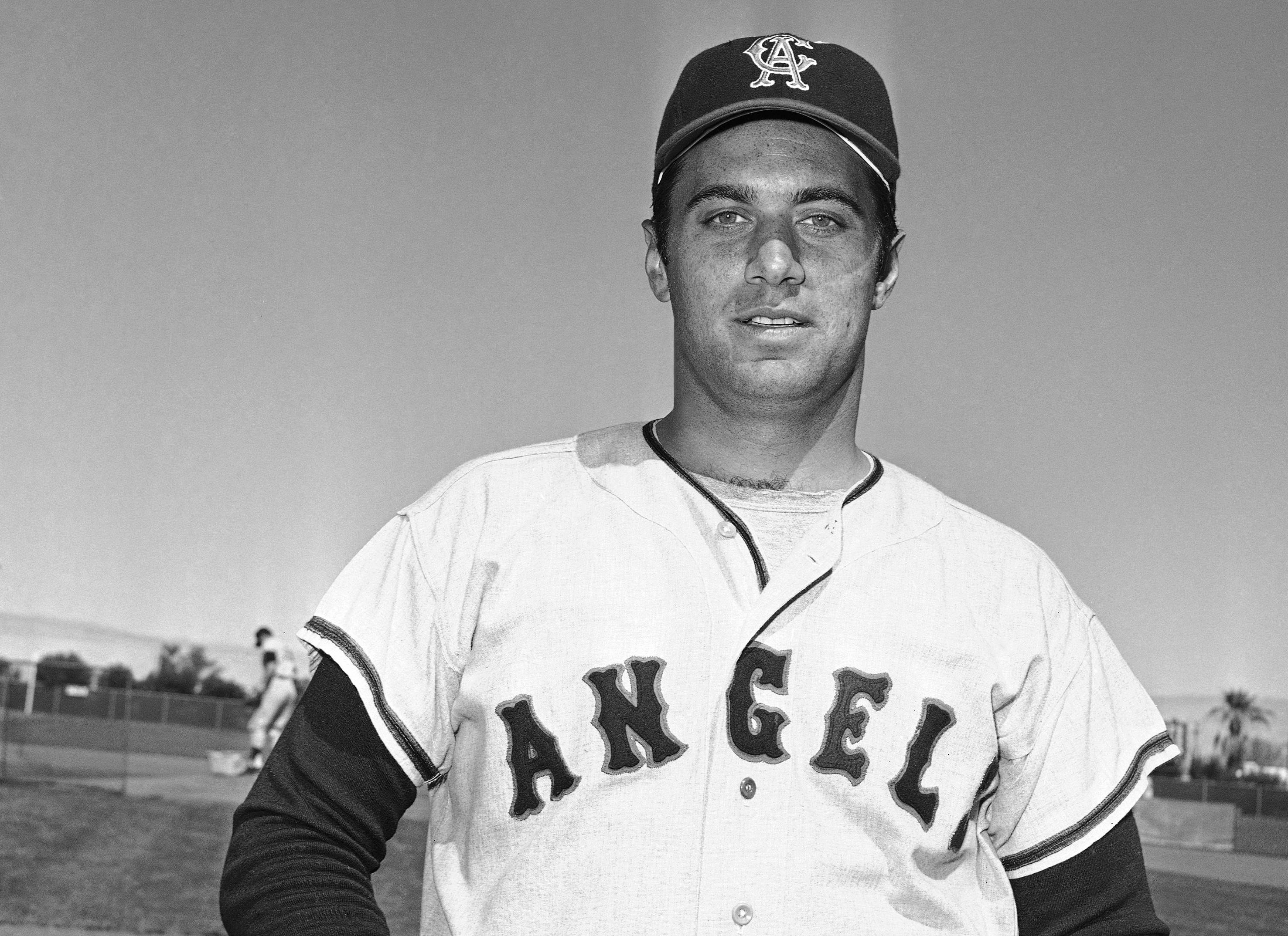 This March 1968 file photo shows Jim Fregosi of the California Angels in Palm Springs, Calif. Fregosi, a former All-Star who won more than 1,000 games as a manager for four teams, has died after an apparent stroke. He was 71. The Atlanta Braves say they were notified by a family member that died early Friday, Feb. 14, 2014, in Miami, where he was hospitalized after the apparent stroke while on a cruise with baseball alumni.