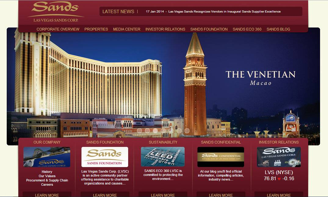 The Sands web site that was hacked on Monday Feb. 10, 2014. A Nevada gambling regulator said Thursday that the hackers who knocked down all Las Vegas Sands websites for two days and counting did not steal any patron data, including credit card information.