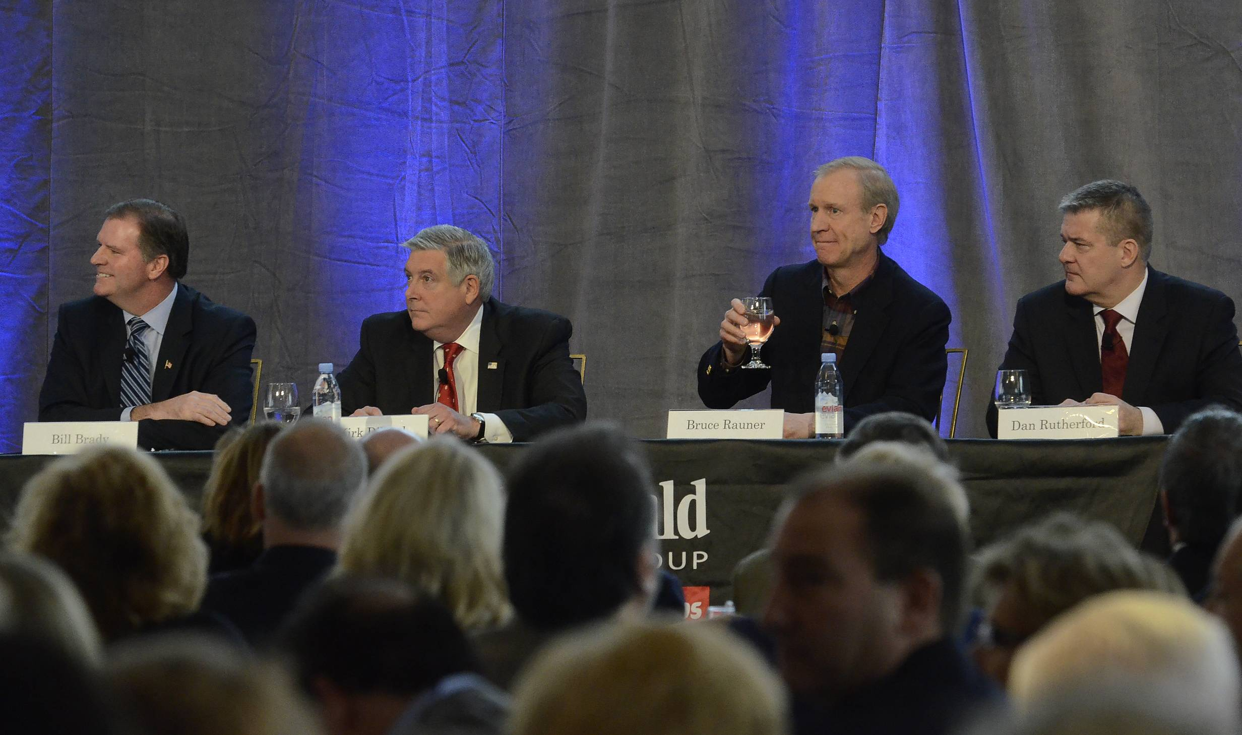 Daily Herald photo/Bob ChwedykGOP governor candidates forum, from left, State Sen. Bill Brady, State Sen. Kirk Dillard, Bruce Rauner, and Illinois Treasurer Dan Rutherford.