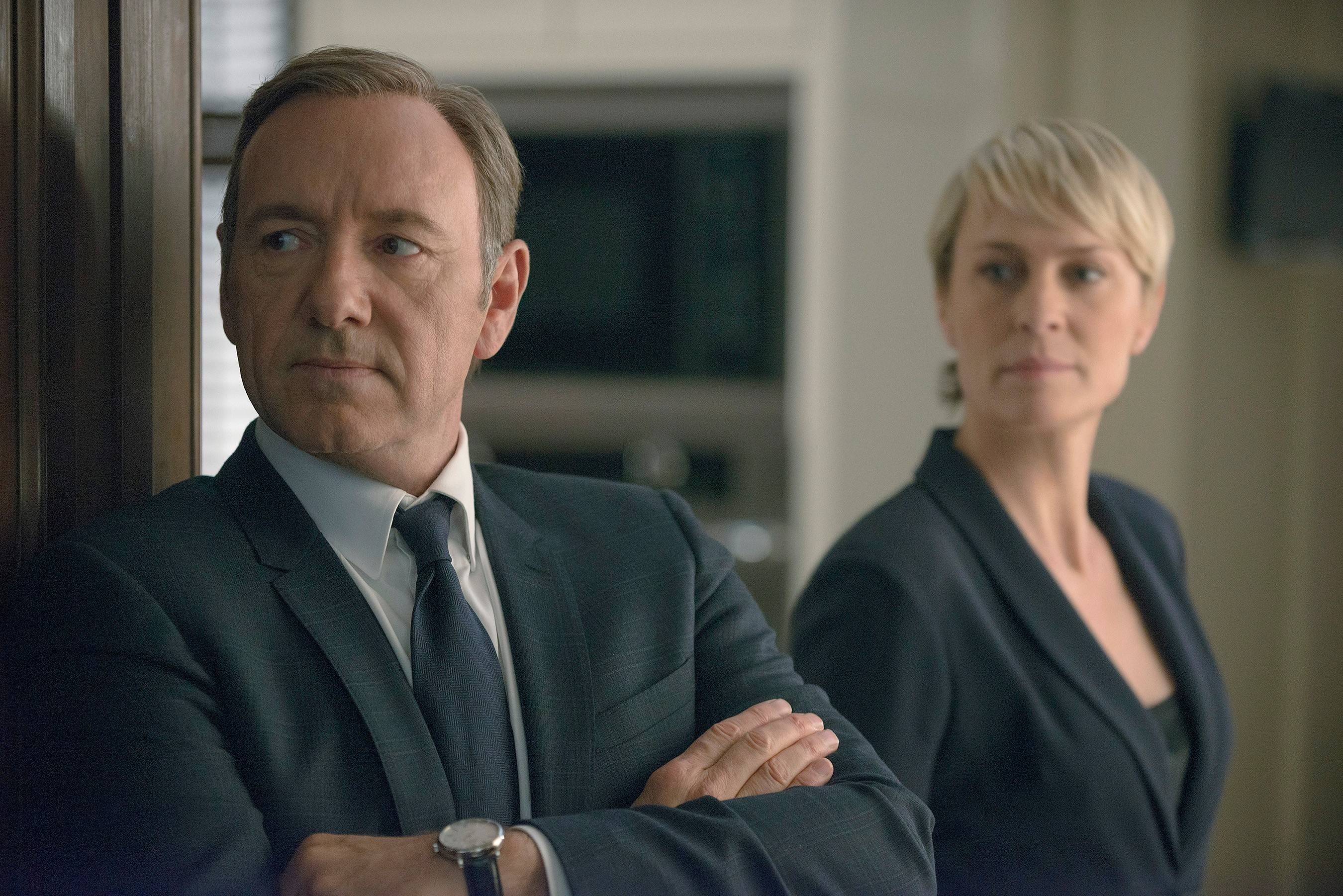 "Kevin Spacey as congressman Francis Underwood and Robin Wright as his wife and a similarly ruthless power player return for season two of Netflix's ""House of Cards."""