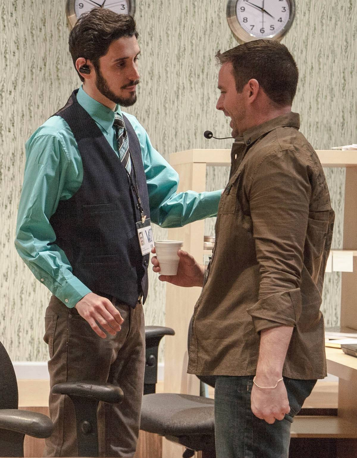 "John Taflan, left, stars with Brian E. Crawford in LiveWire Chicago Theatre's production of Leslye Headland's ""Assistance,"" directed by Joshua Aaron Weinstein."
