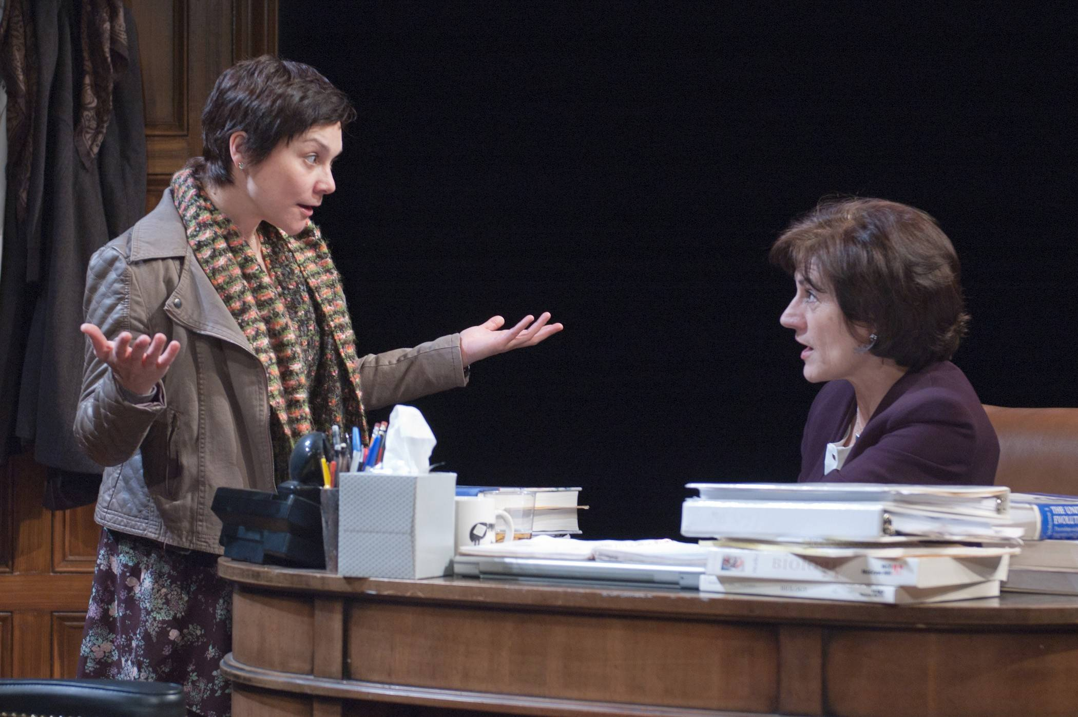"Rachel Hardeman (Elizabeth Ledo), left, argues a view on female evolutionary biology with the esteemed professor Zelda Kahn (Janet Ulrich Brooks) in TimeLine Theatre's Chicago premiere of Sarah Treem's drama ""The How and the Why."""