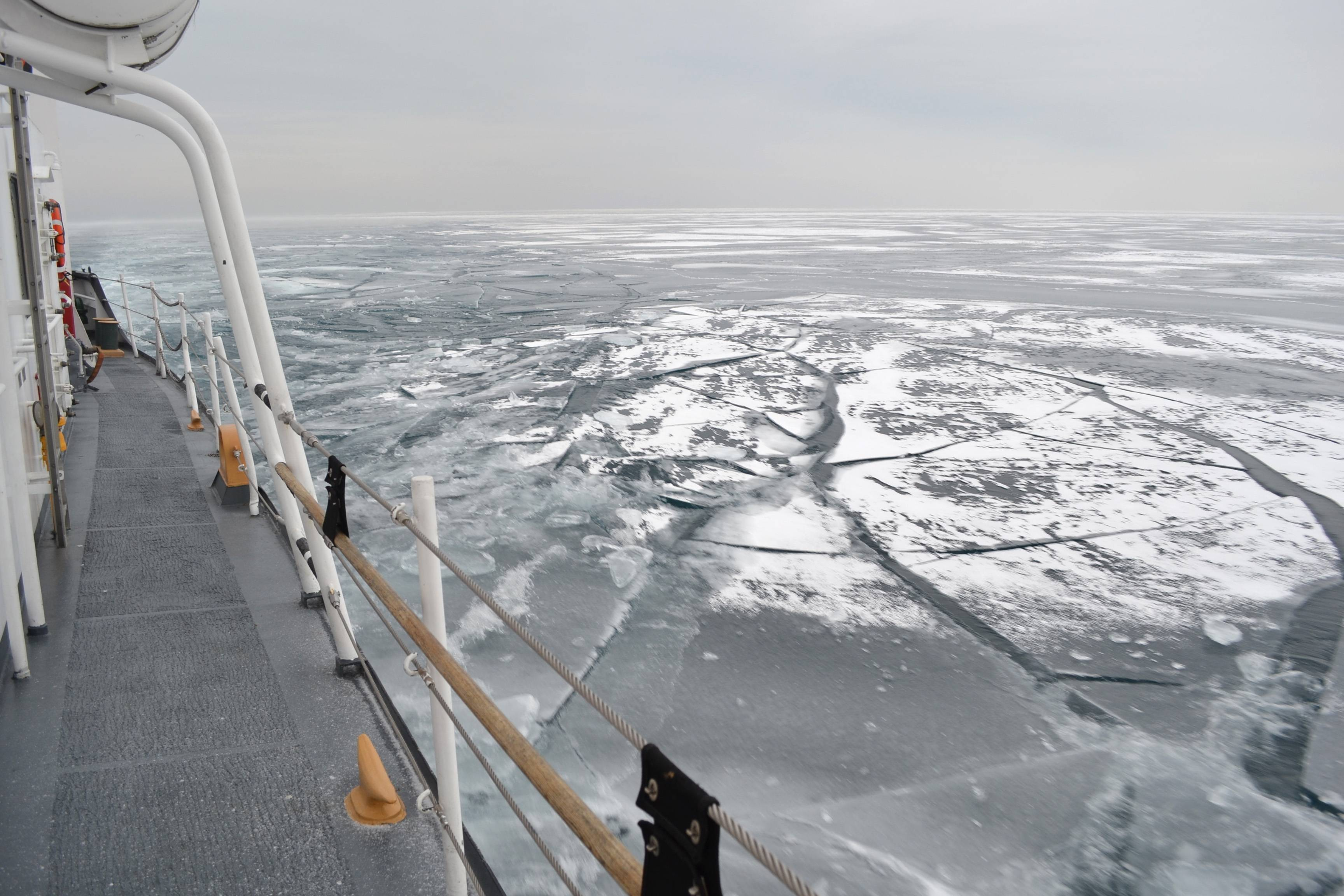 The Biscayne Bay, a 140-foot ice-breaking tug, helped break ice on the southern part of Lake Michigan this week to assist commerce.