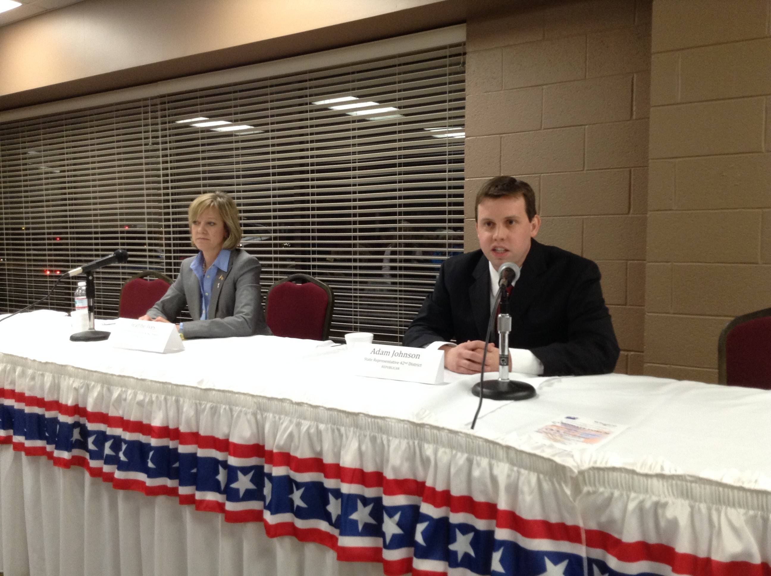 Incumbent state Rep. Jeanne Ives of Wheaton, left, is being challenged by Adam Johnson of Warrenville in the Republican primary for the 48th House District. Both candidates answered questions Thursday at a forum in Wheaton that was sponsored by the League of Women Voters of Wheaton and the Wheaton Chamber of Commerce.