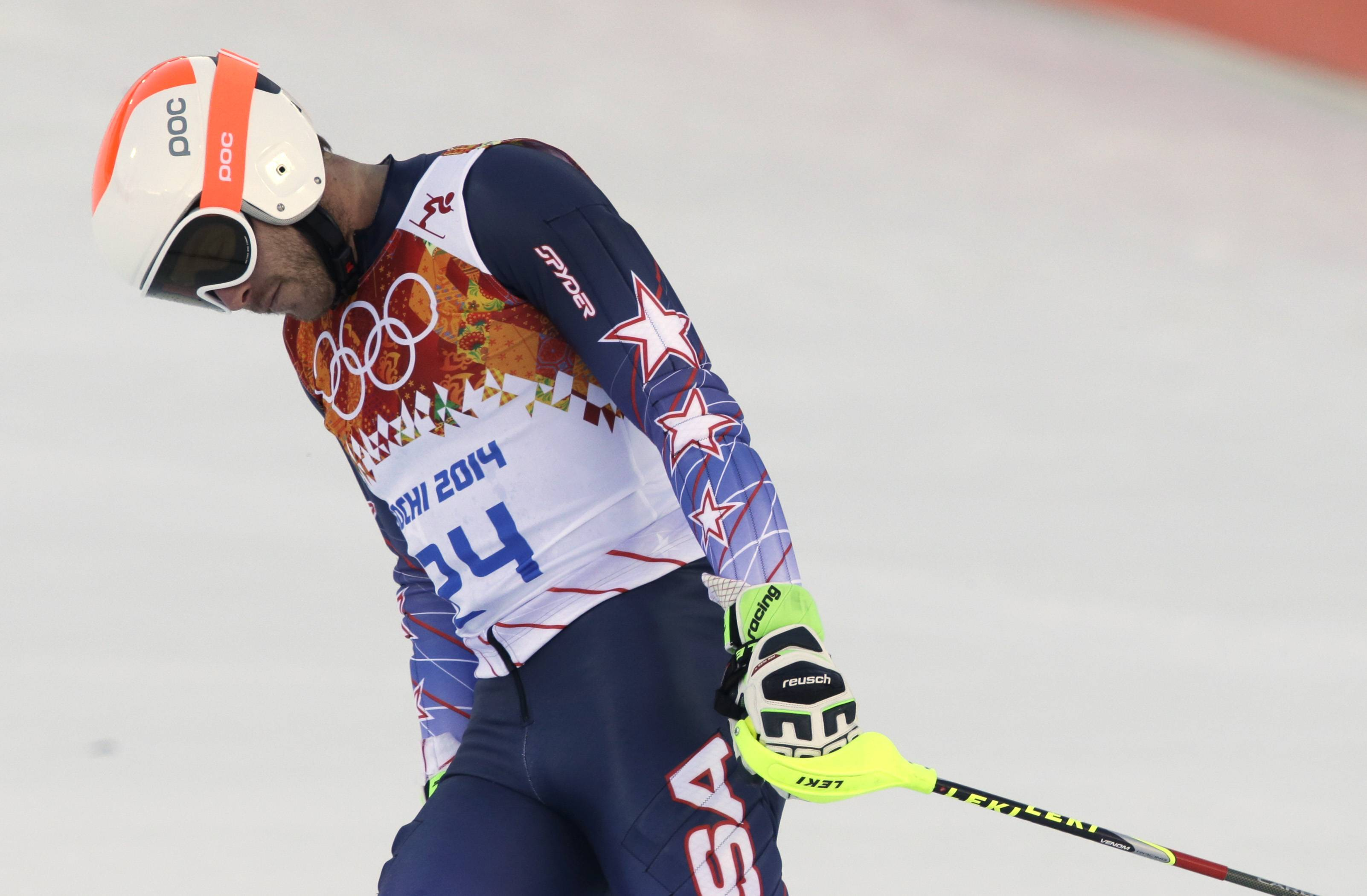 United States' Bode Miller reacts after competing in the slalom portion of the men's supercombined at the Sochi 2014 Winter Olympics, Friday, Feb. 14, 2014, in Krasnaya Polyana, Russia.