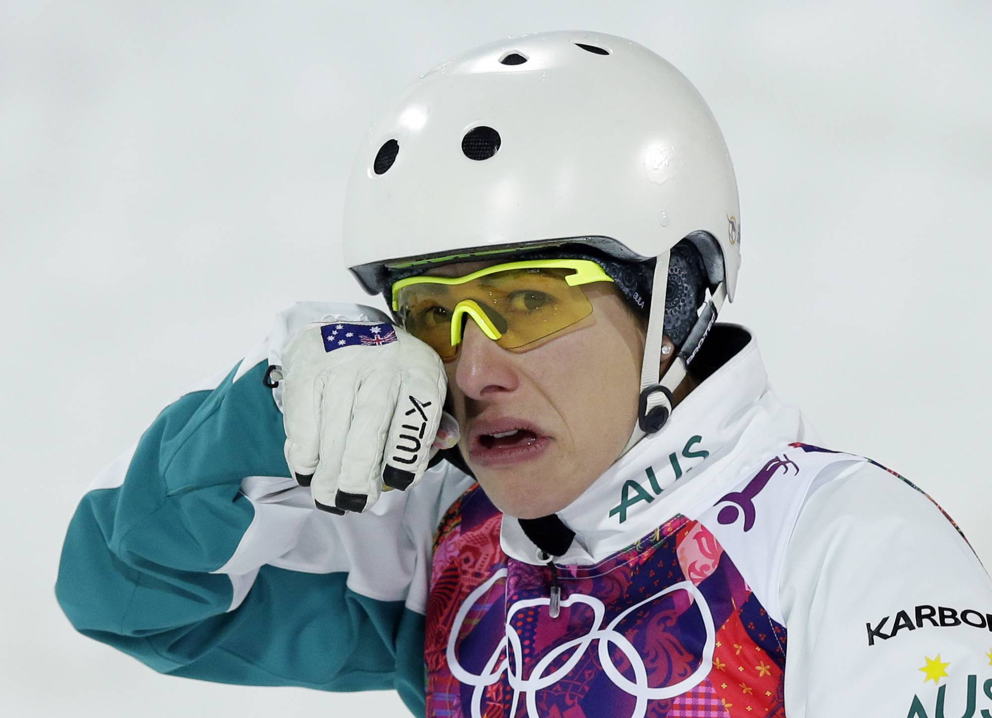 Australia's Lydia Lassila cries after final results were announced in the women's freestyle skiing aerials final.