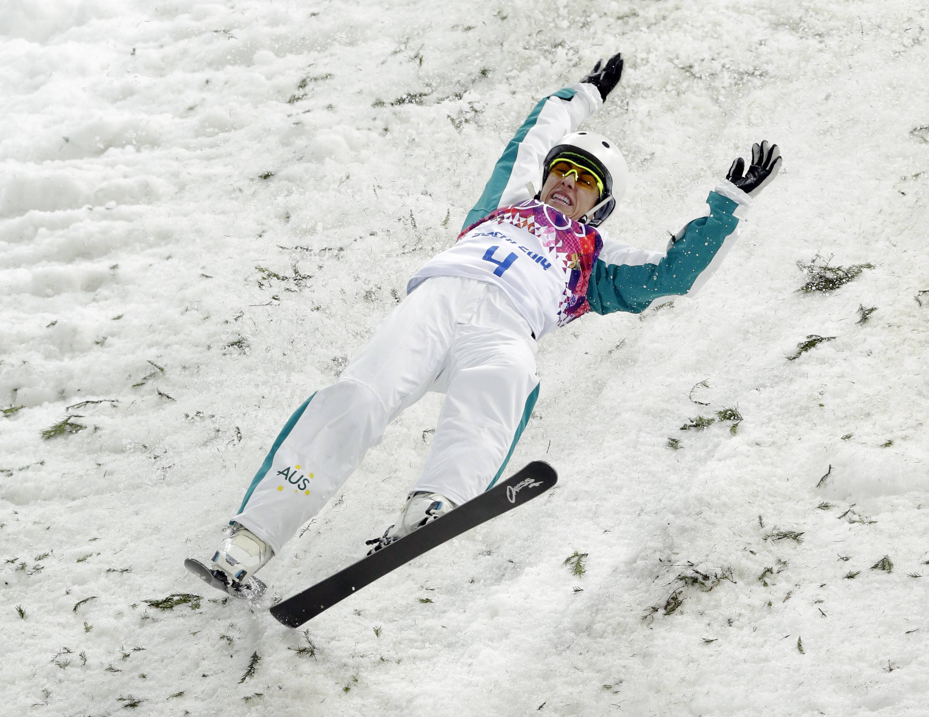 Australia's Lydia Lassila crashes on her final jump in the women's freestyle skiing aerials final.